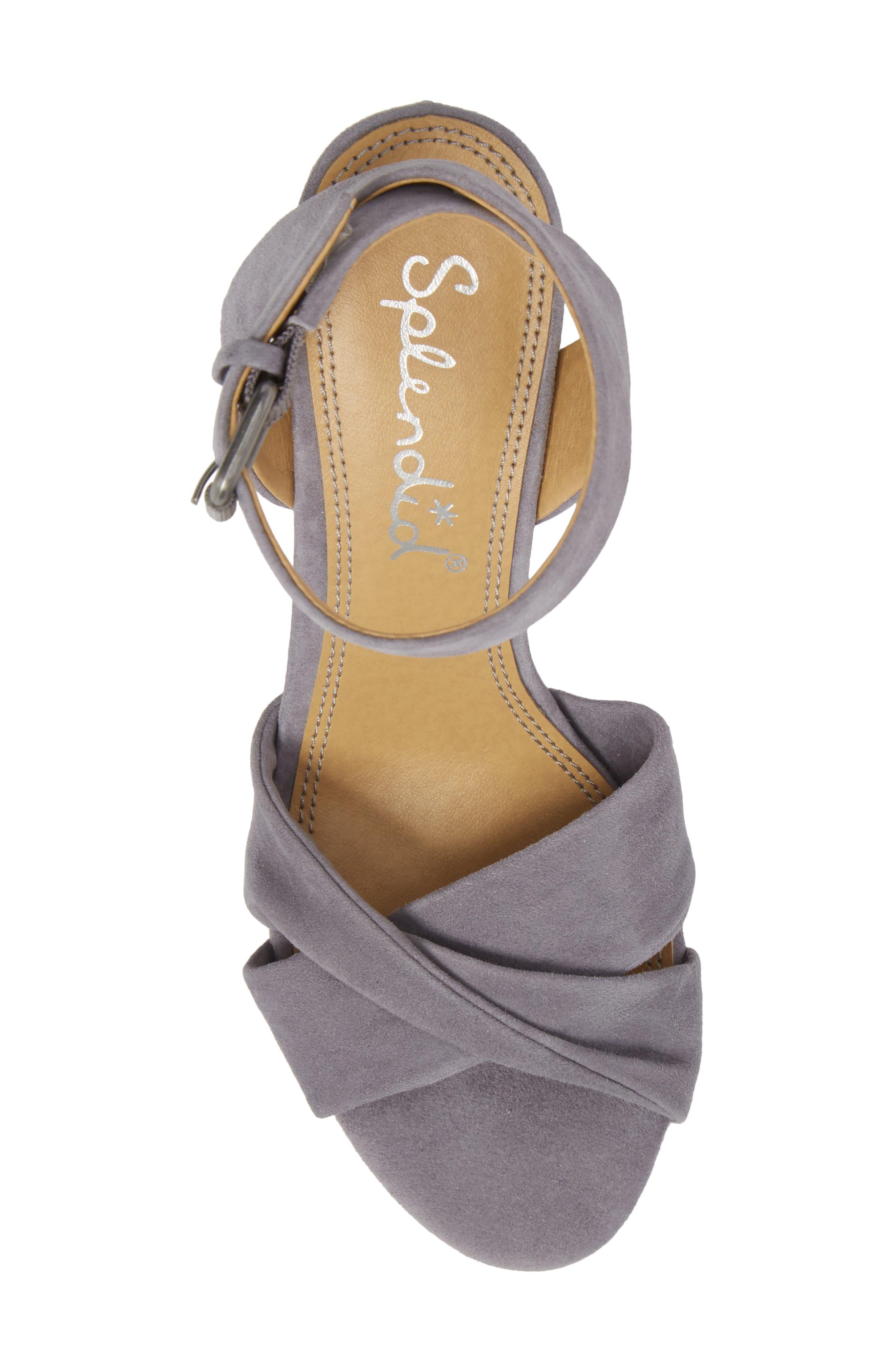 Fairy Block Heel Sandal,                             Alternate thumbnail 5, color,                             STEEL GREY SUEDE