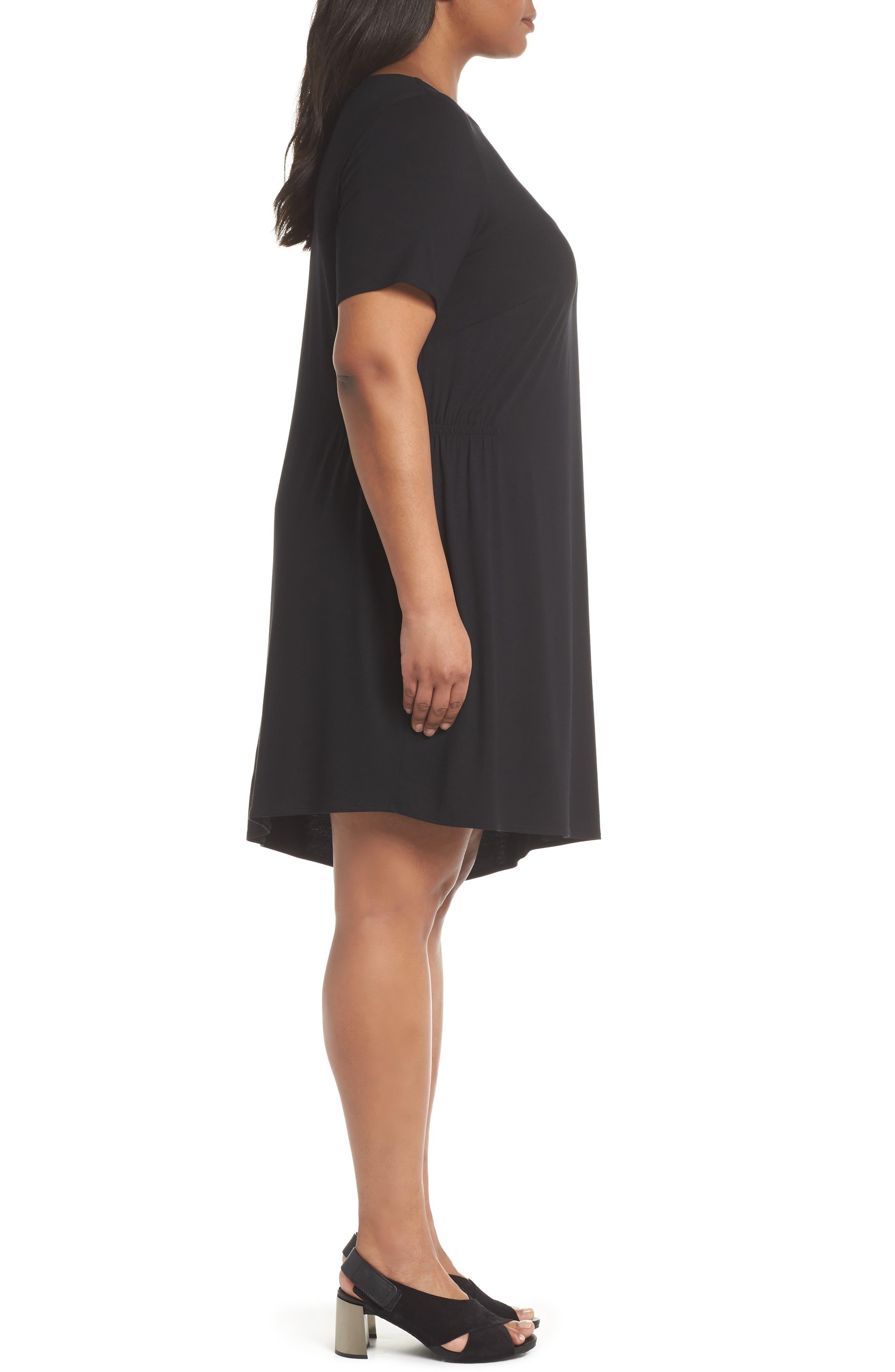 Asymmetrical Stretch Jersey Shift Dress,                             Alternate thumbnail 3, color,                             001