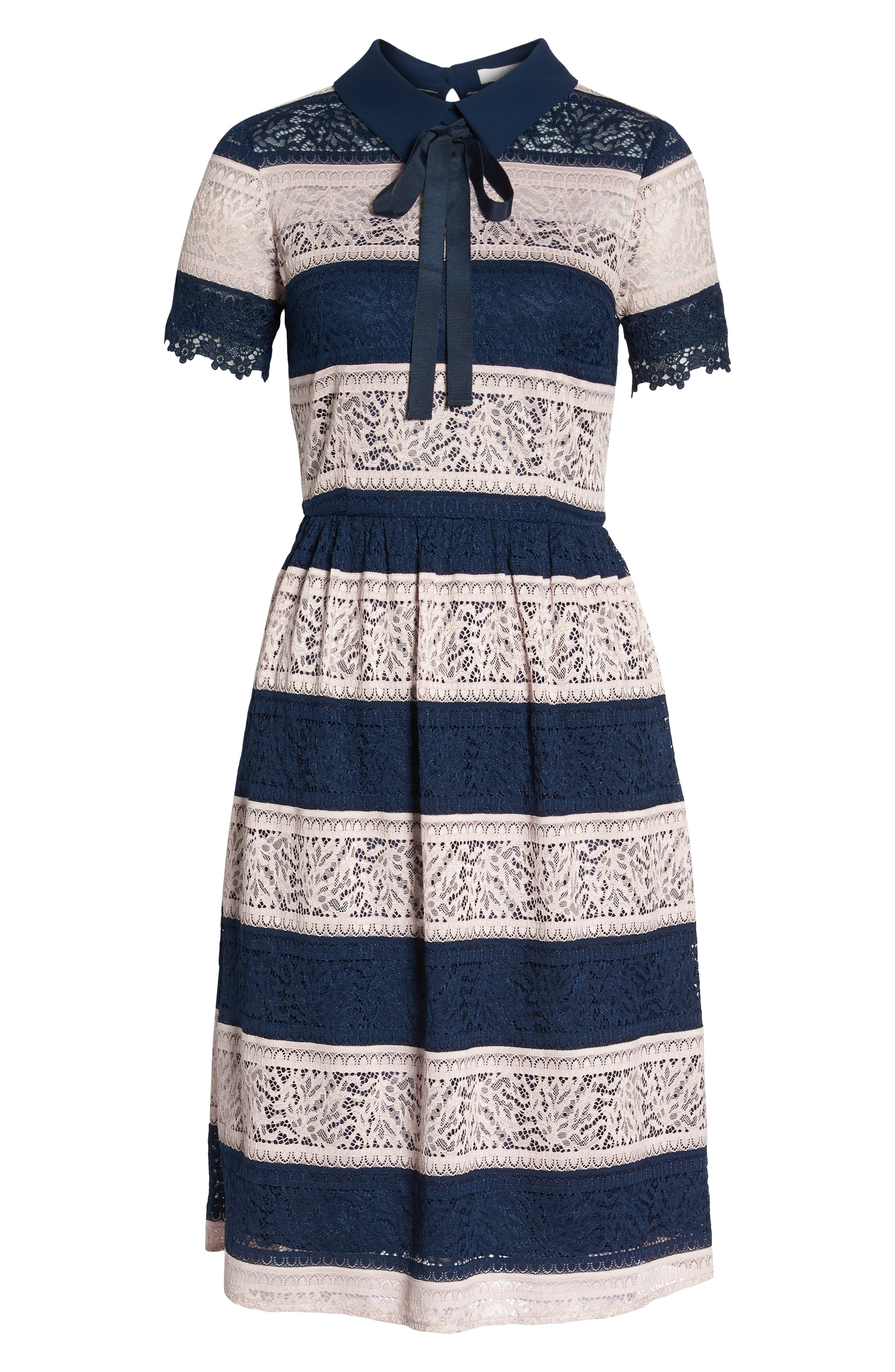 Stripe Lace Fit & Flare Dress,                             Alternate thumbnail 7, color,                             410