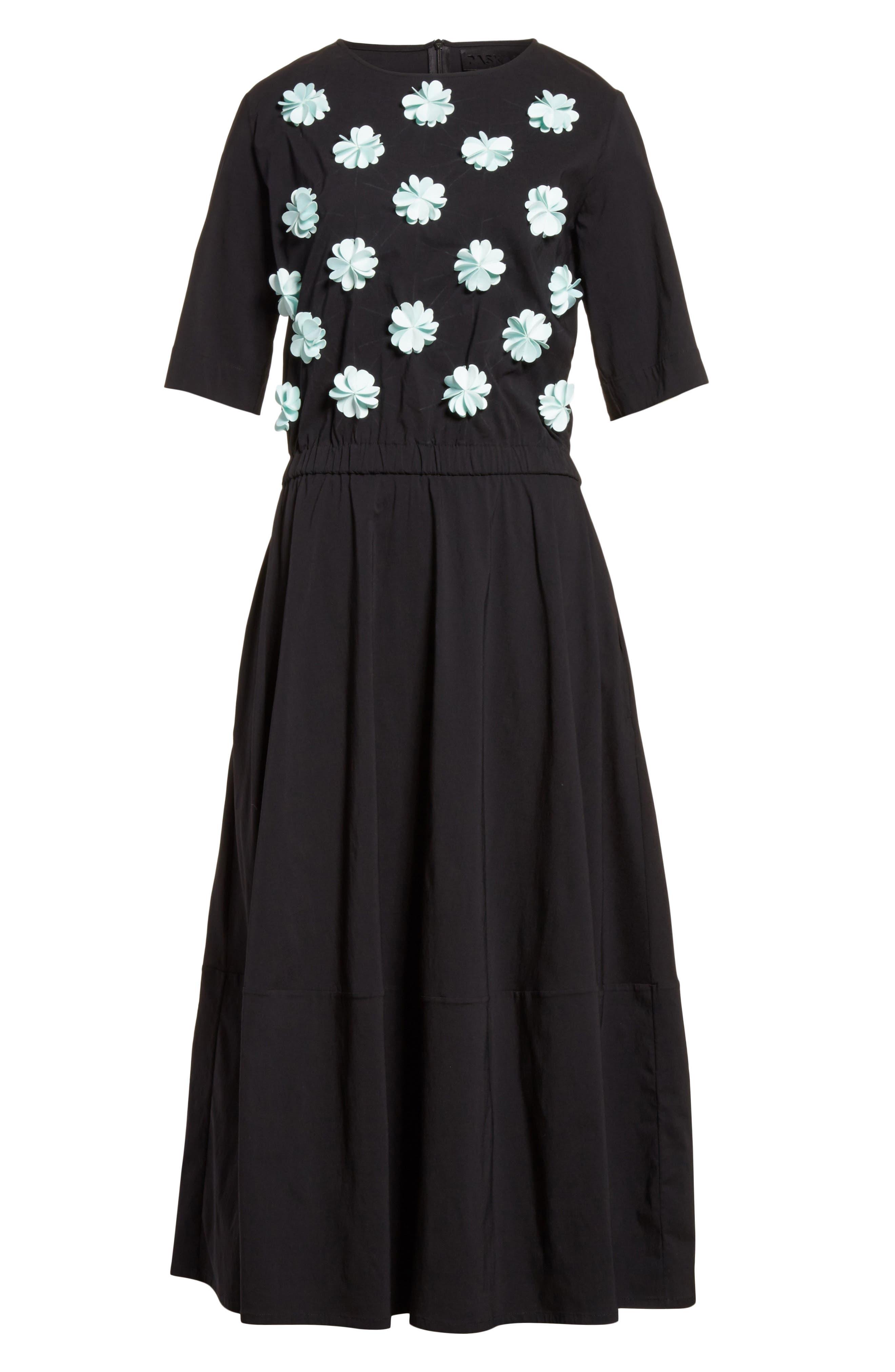 Floral Appliqué Dress,                             Alternate thumbnail 6, color,                             001