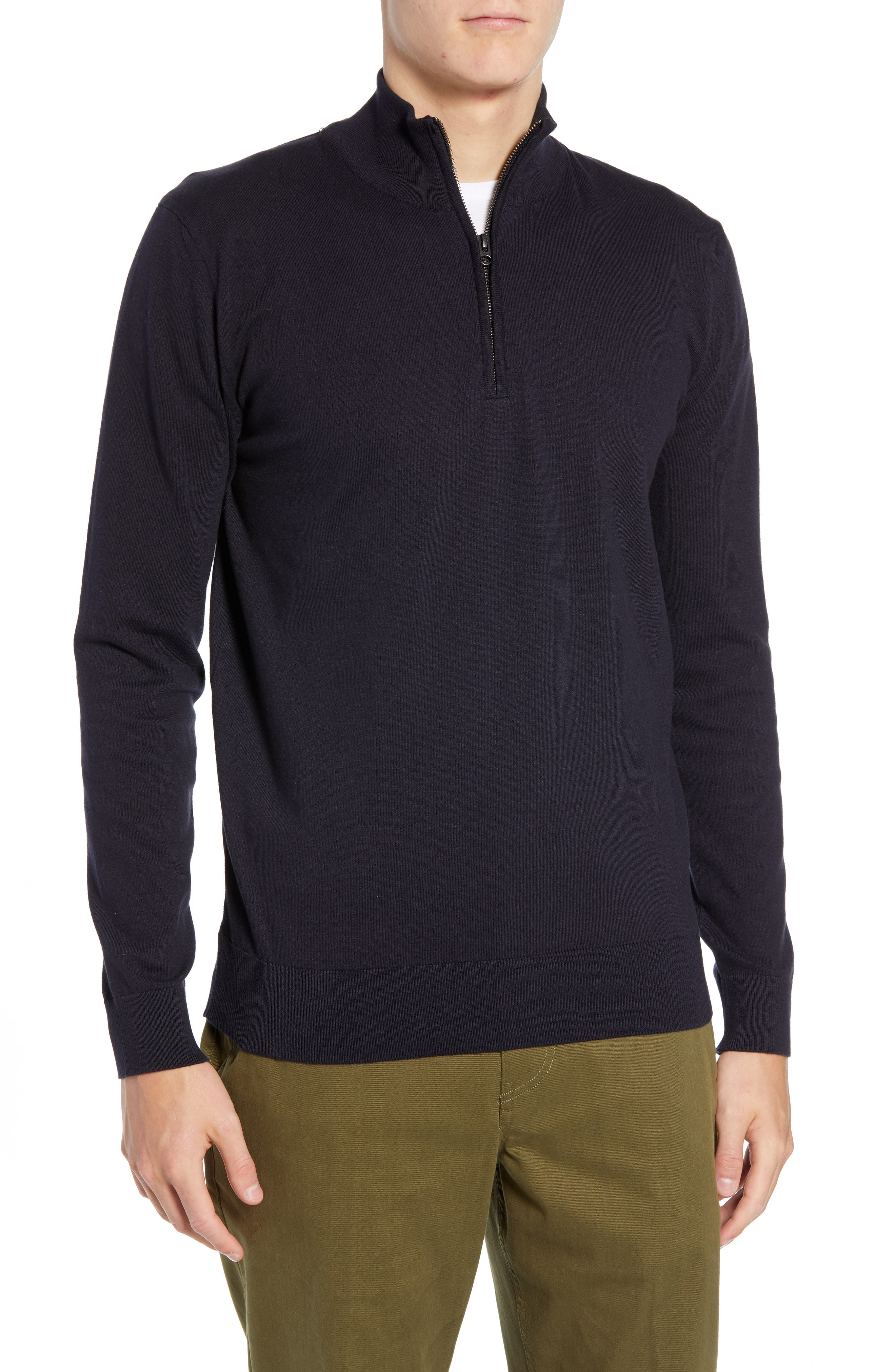 French Connection Stretch Cotton Quarter Zip Sweater, Blue