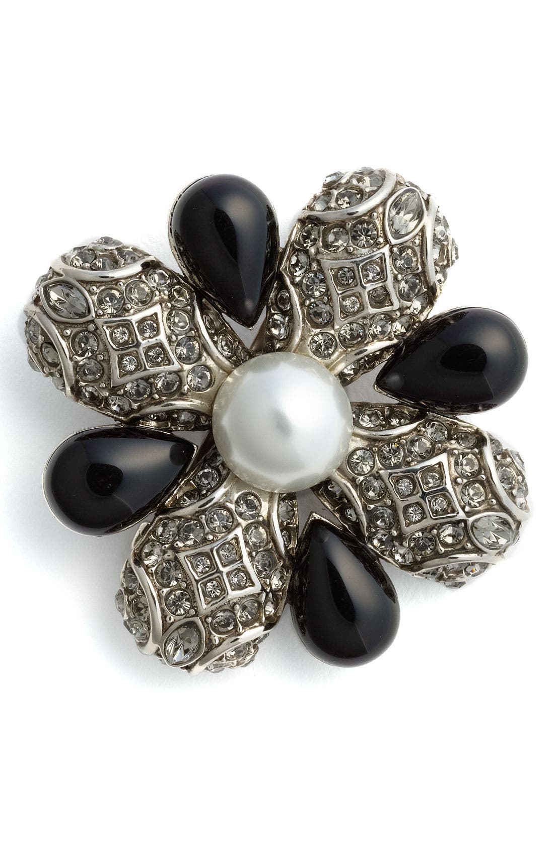 Faux Pearl & Beaded Broach,                         Main,                         color,