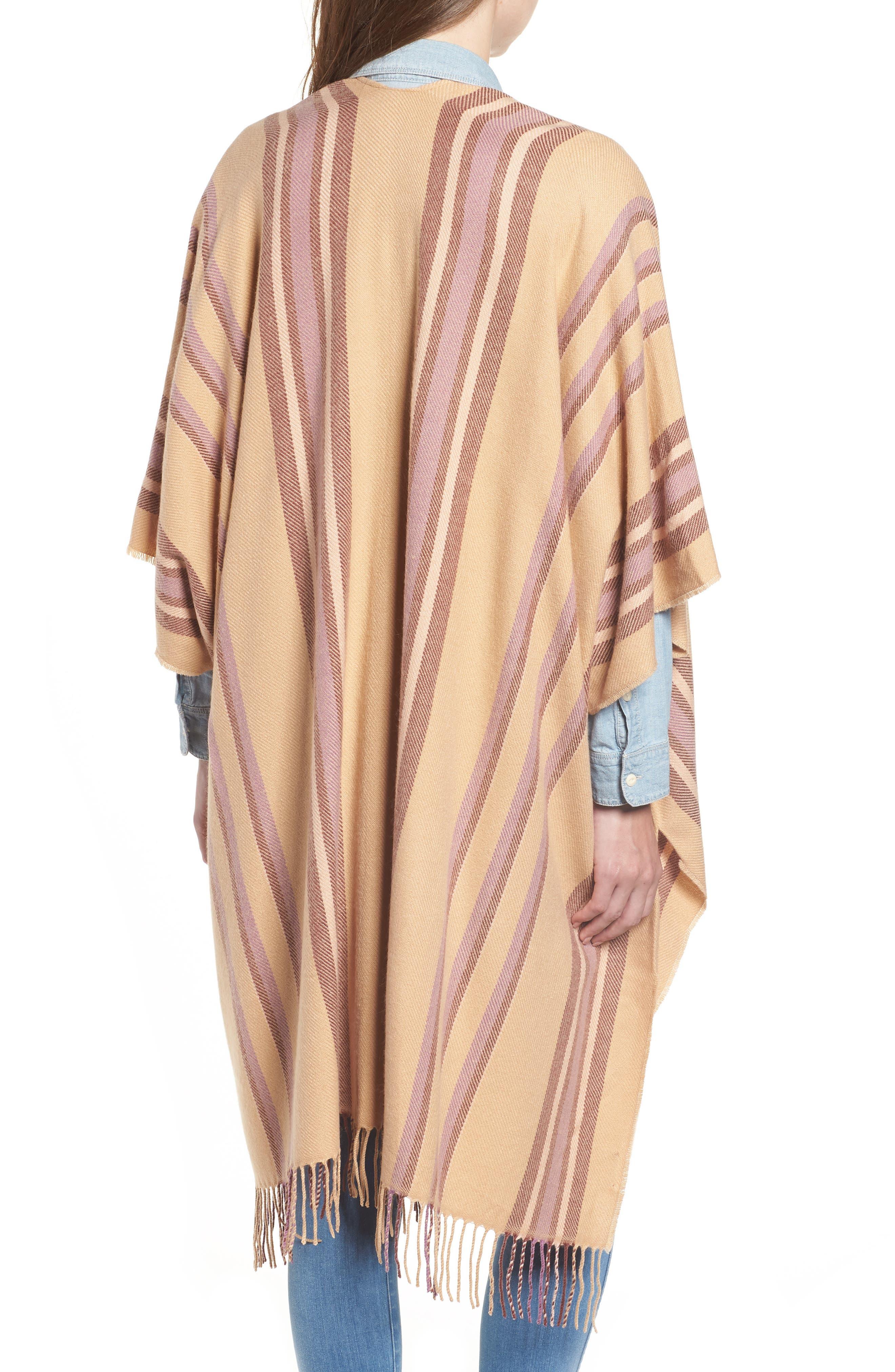 Placed Stripe Poncho Scarf,                             Alternate thumbnail 2, color,                             DESERT CAMEL MULTI