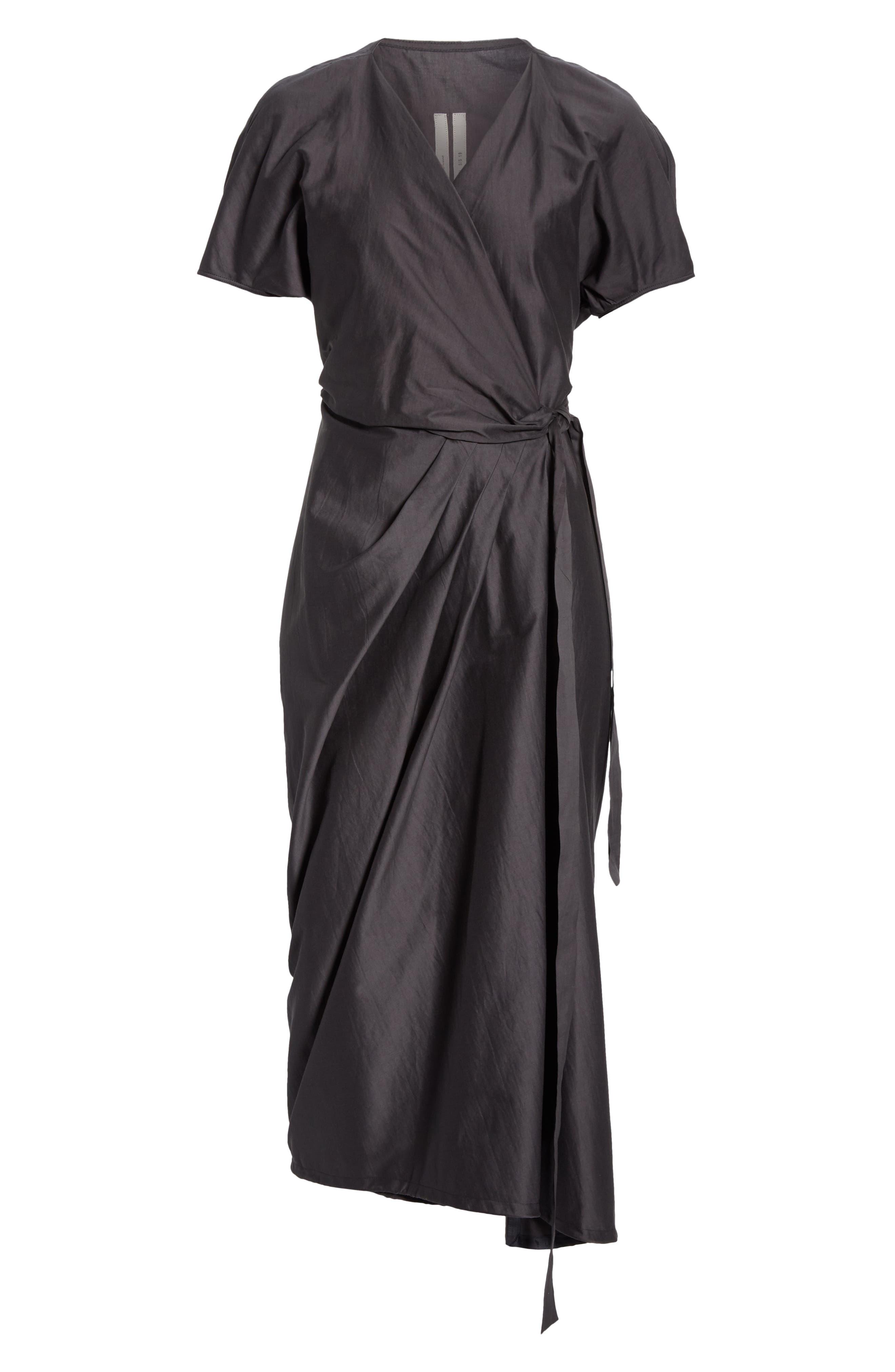 RICK OWENS,                             Limo Cotton & Silk Wrap Dress,                             Alternate thumbnail 7, color,                             BLUE JAY