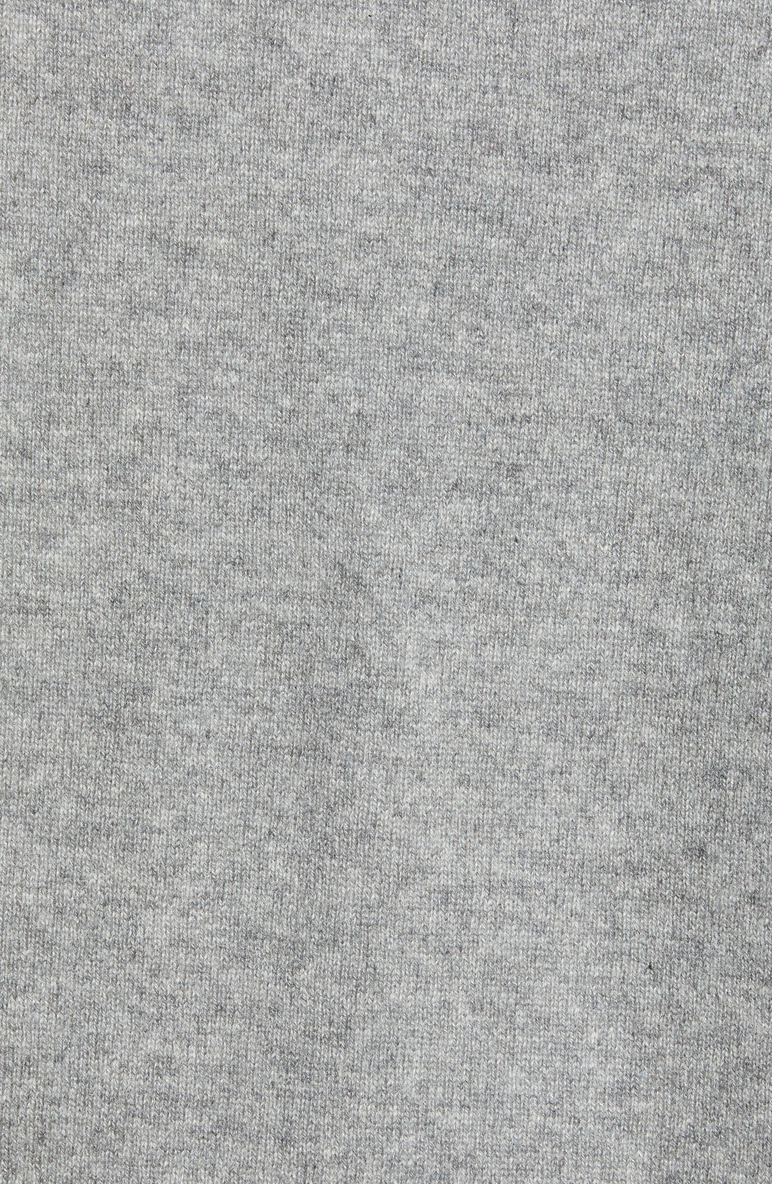 Regular Fit Cashmere Quarter Zip Pullover,                             Alternate thumbnail 5, color,                             GREY DRIFTWOOD