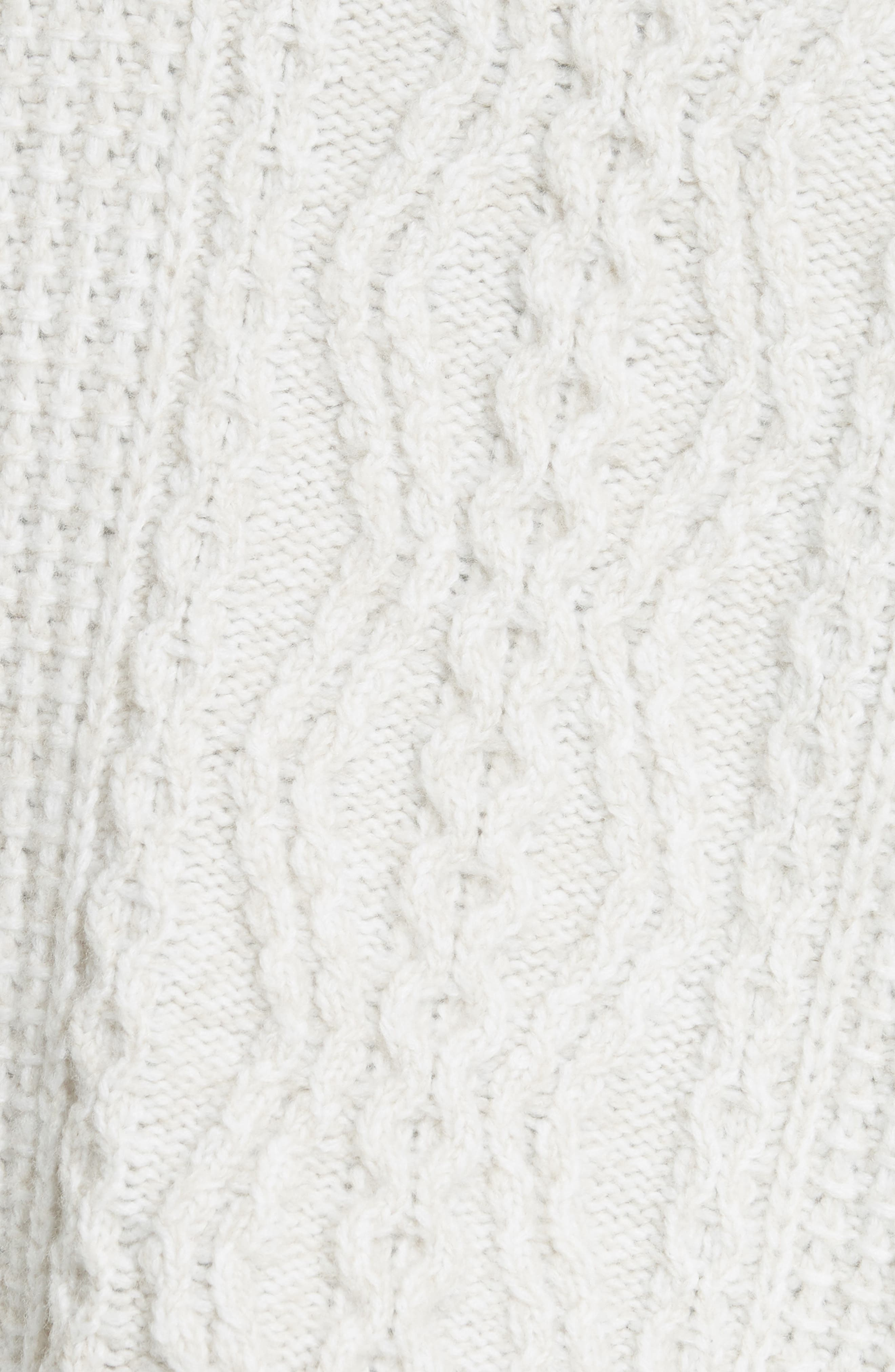 Diagonal Cable Wool Blend Turtleneck Sweater,                             Alternate thumbnail 5, color,                             OFF WHITE/ MARZIPAN
