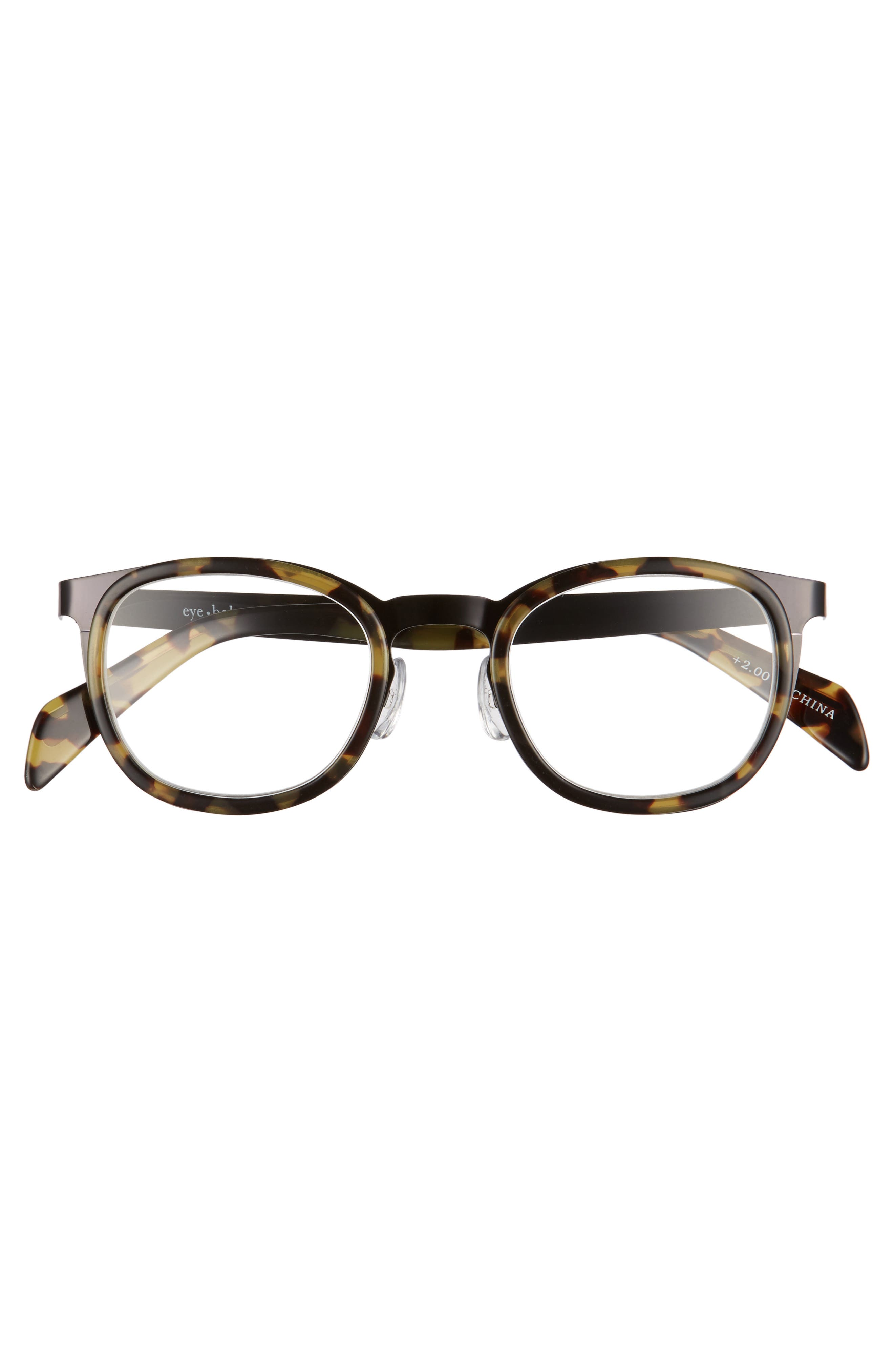 Spank Me 45mm Reading Glasses,                             Alternate thumbnail 2, color,                             BLACK METAL WITH TORTOISE