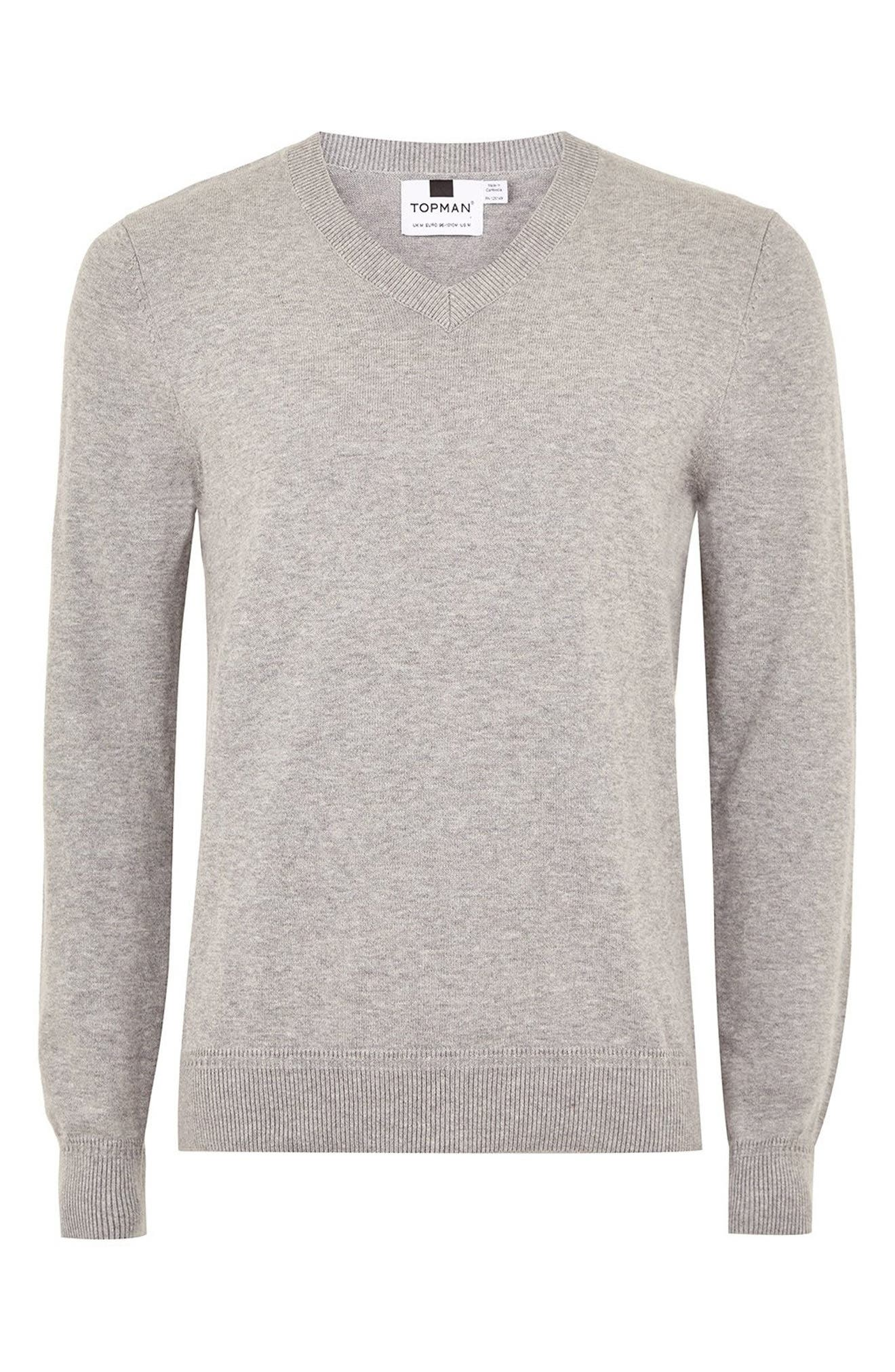 Classic V-Neck Sweater,                             Alternate thumbnail 4, color,                             GREY
