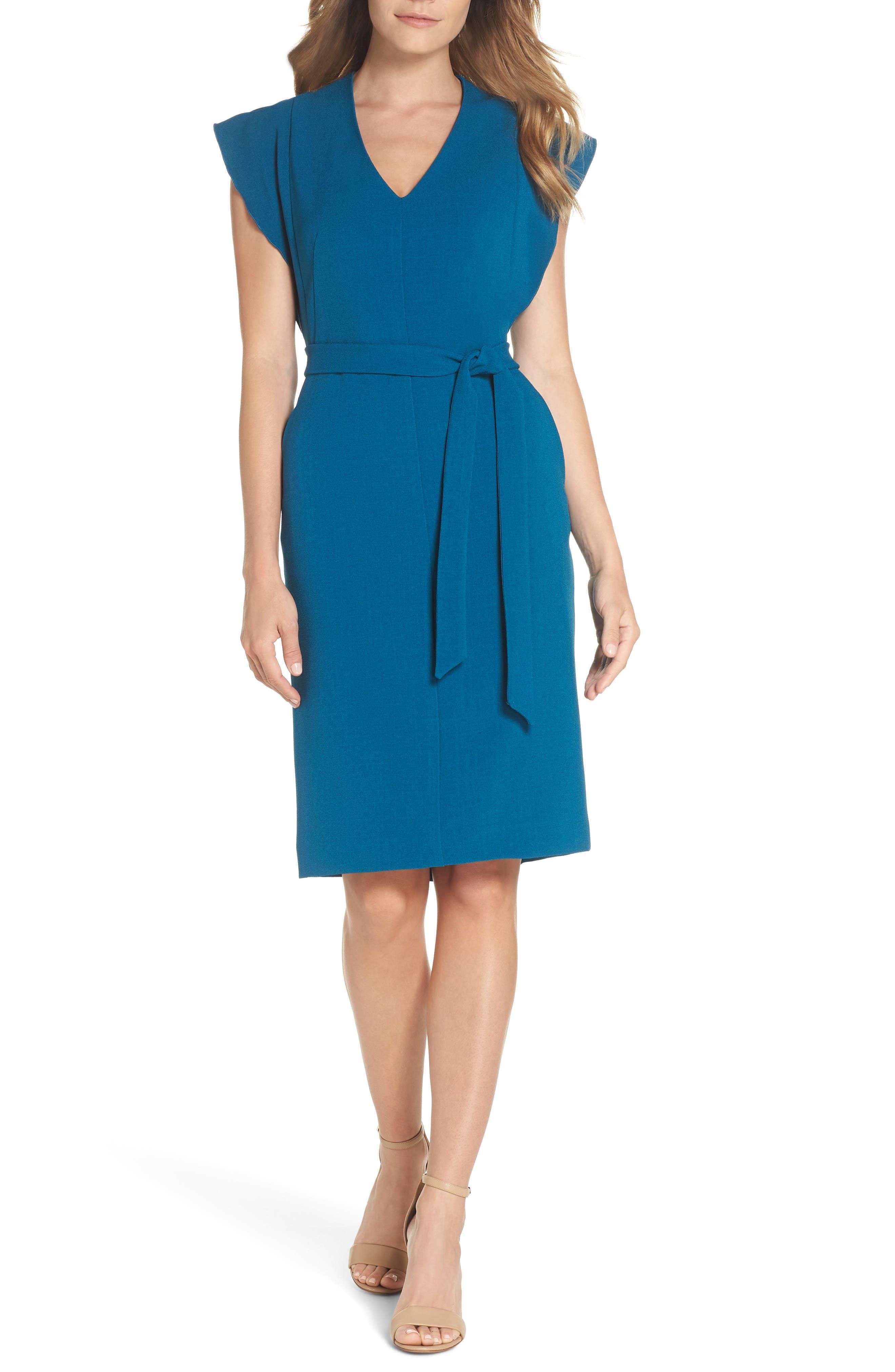 Ruffle Sleeve Sheath Dress,                             Main thumbnail 1, color,                             TEAL