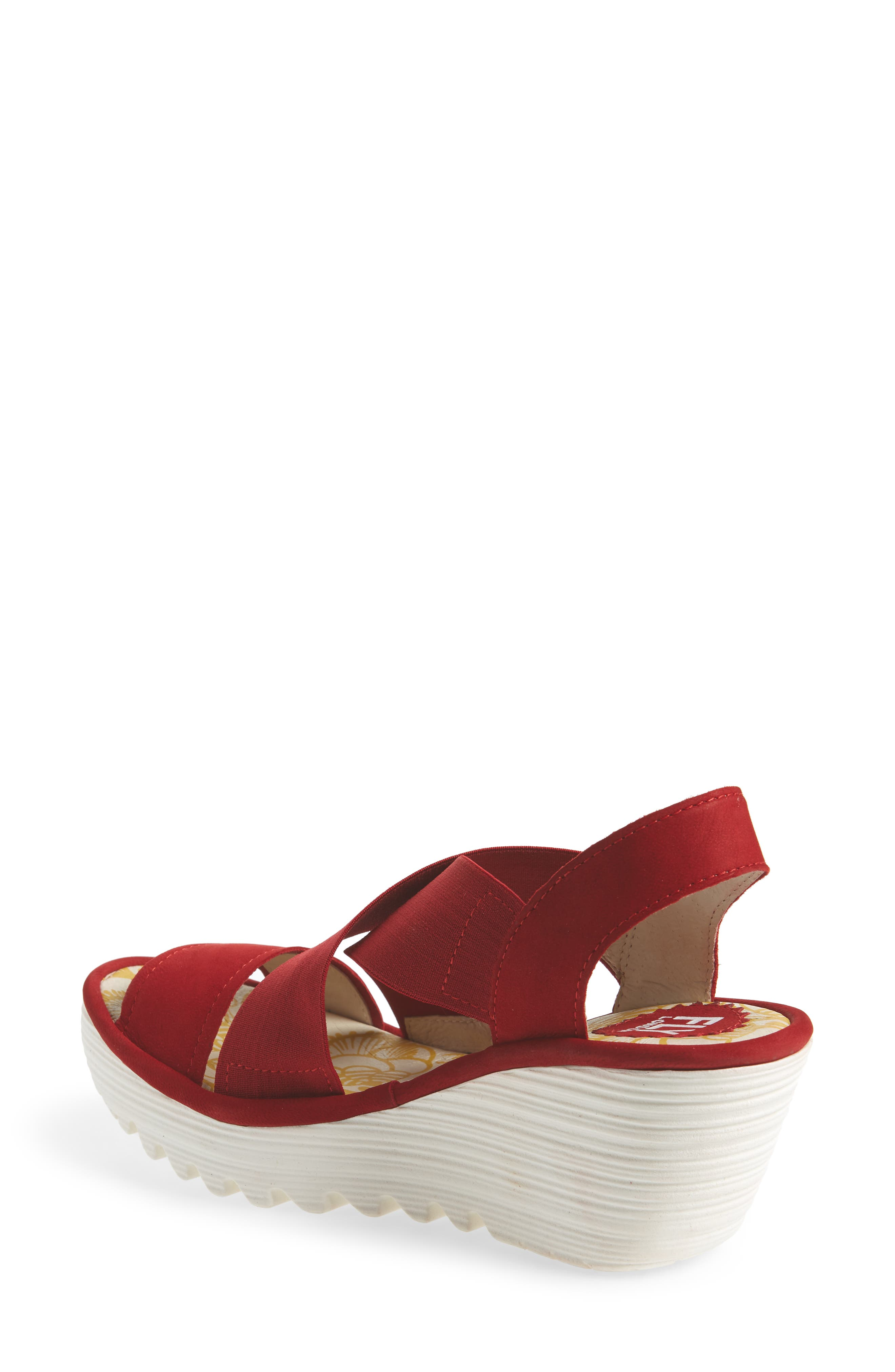 Yaji Cross Wedge Sandal,                             Alternate thumbnail 2, color,                             RED LEATHER