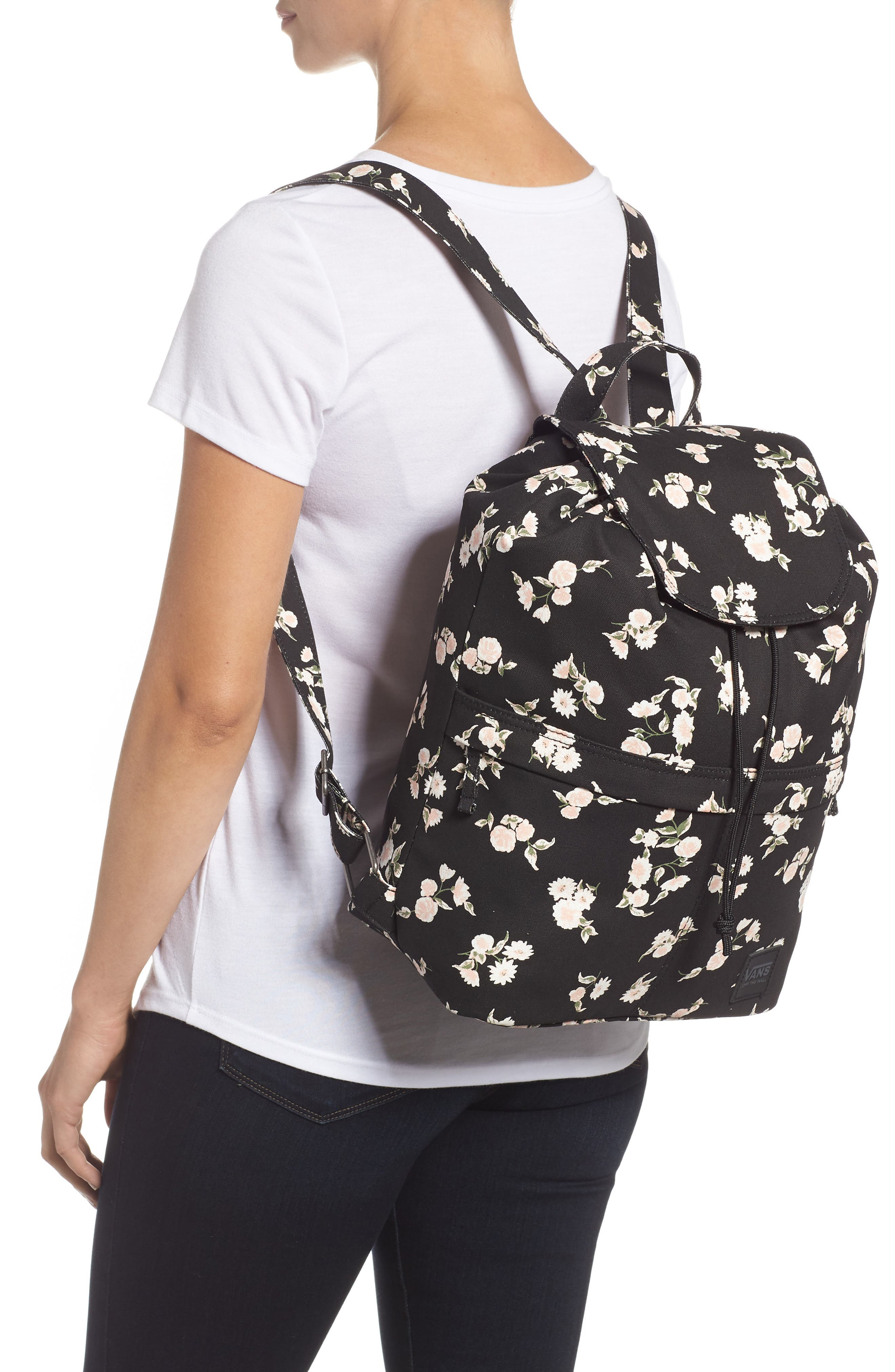 Lakeside Floral Print Backpack,                             Alternate thumbnail 2, color,                             001