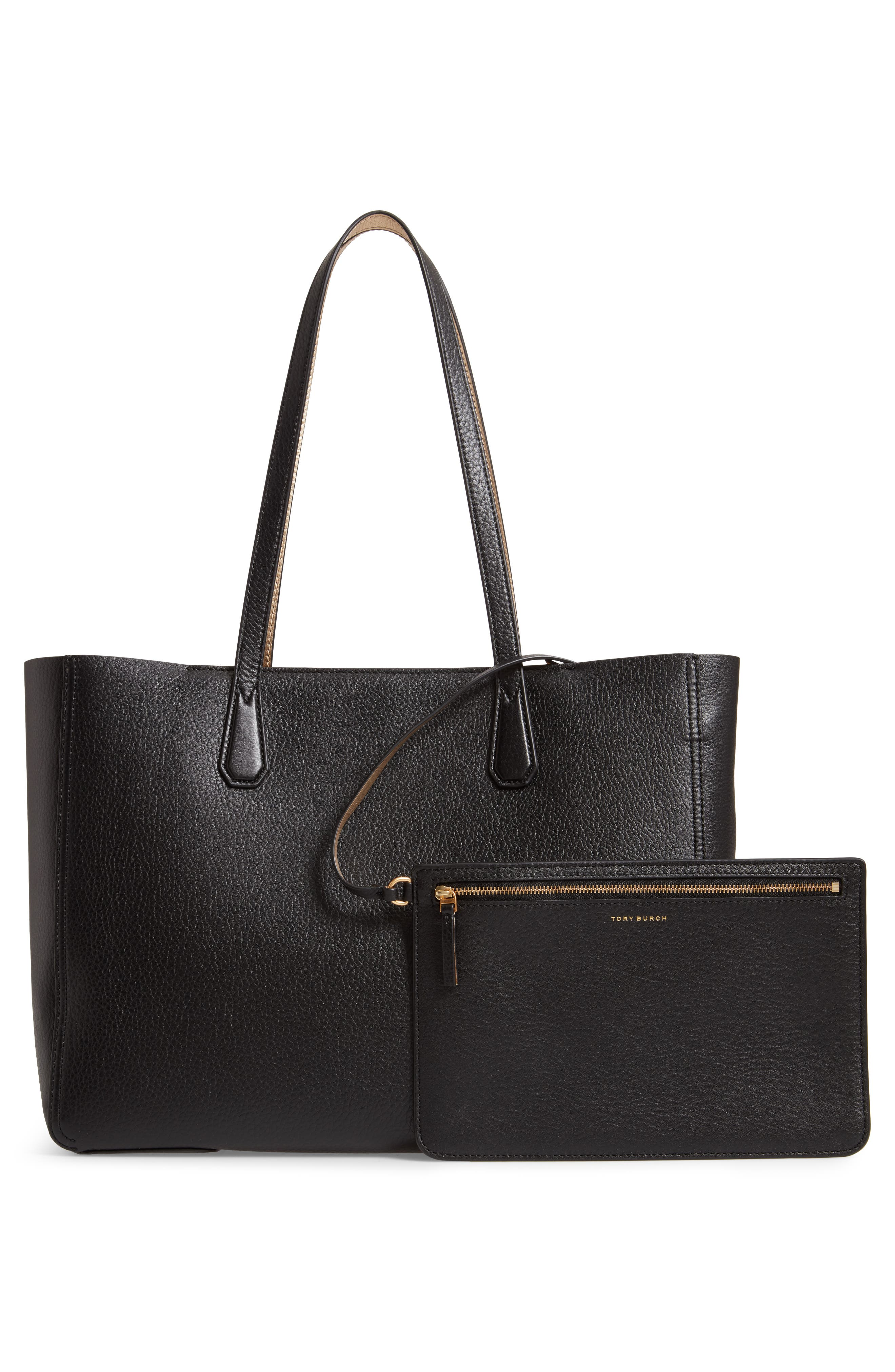 Perry Leather Tote,                             Alternate thumbnail 3, color,                             001