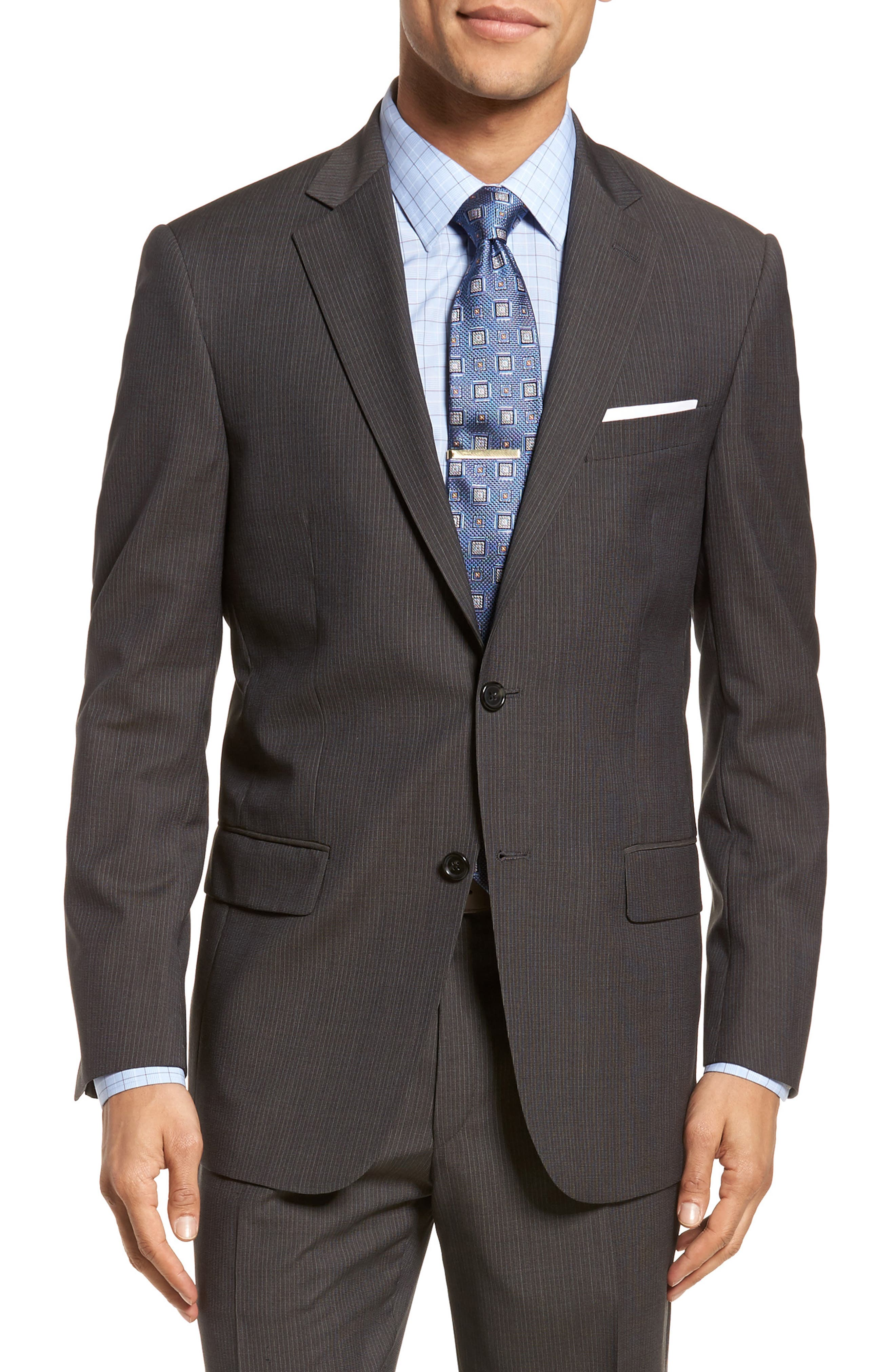 New York Classic Fit Stripe Wool Suit,                             Alternate thumbnail 5, color,                             020