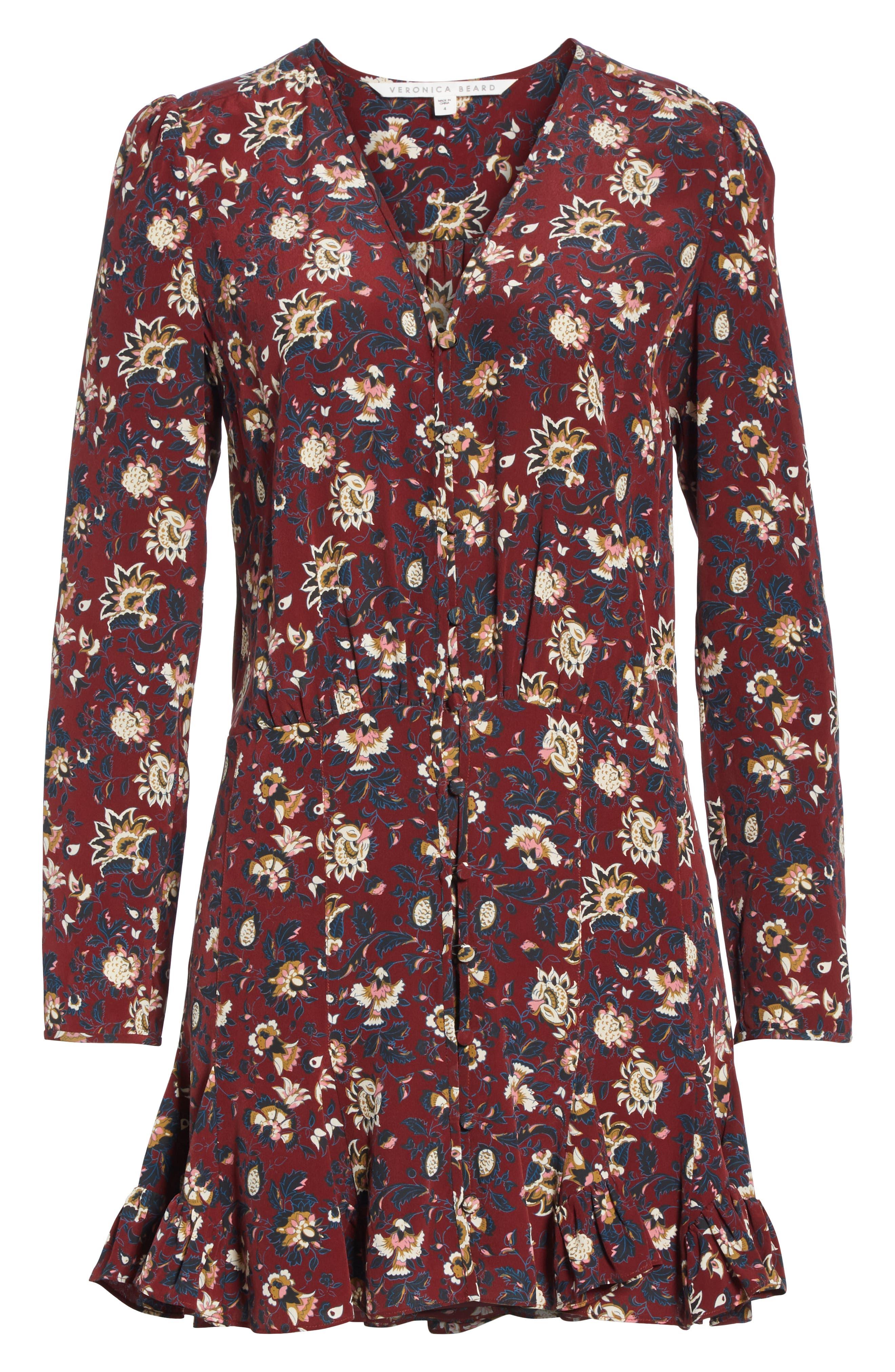 Riggins Silk Dress,                             Alternate thumbnail 7, color,                             BORDEAUX MULTI