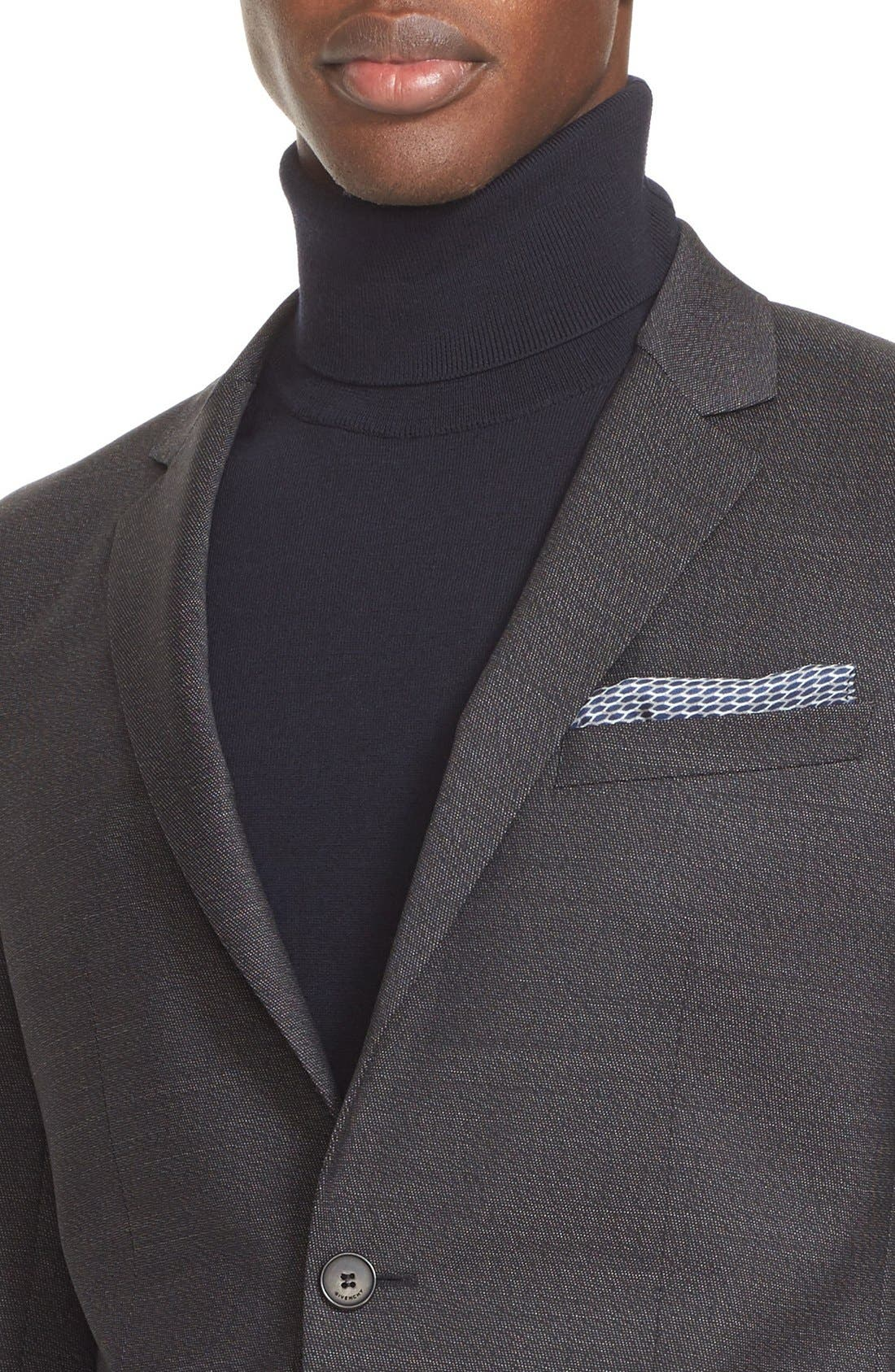Extra Trim Fit Textured Wool Suit,                             Alternate thumbnail 5, color,                             BLACK