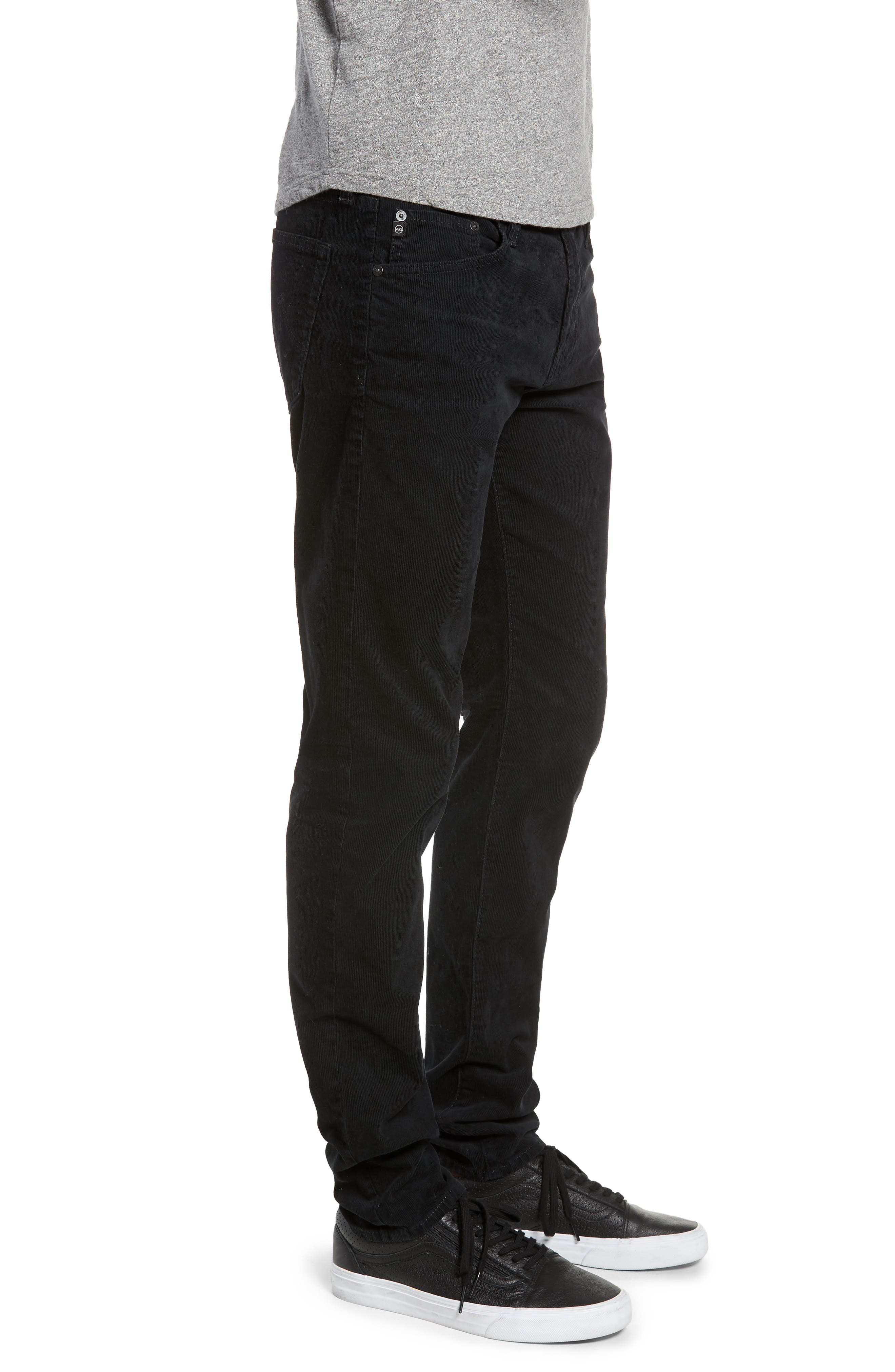 Dylan Skinny Fit Corduroy Pants,                             Alternate thumbnail 3, color,                             SULFUR ASH BLACK