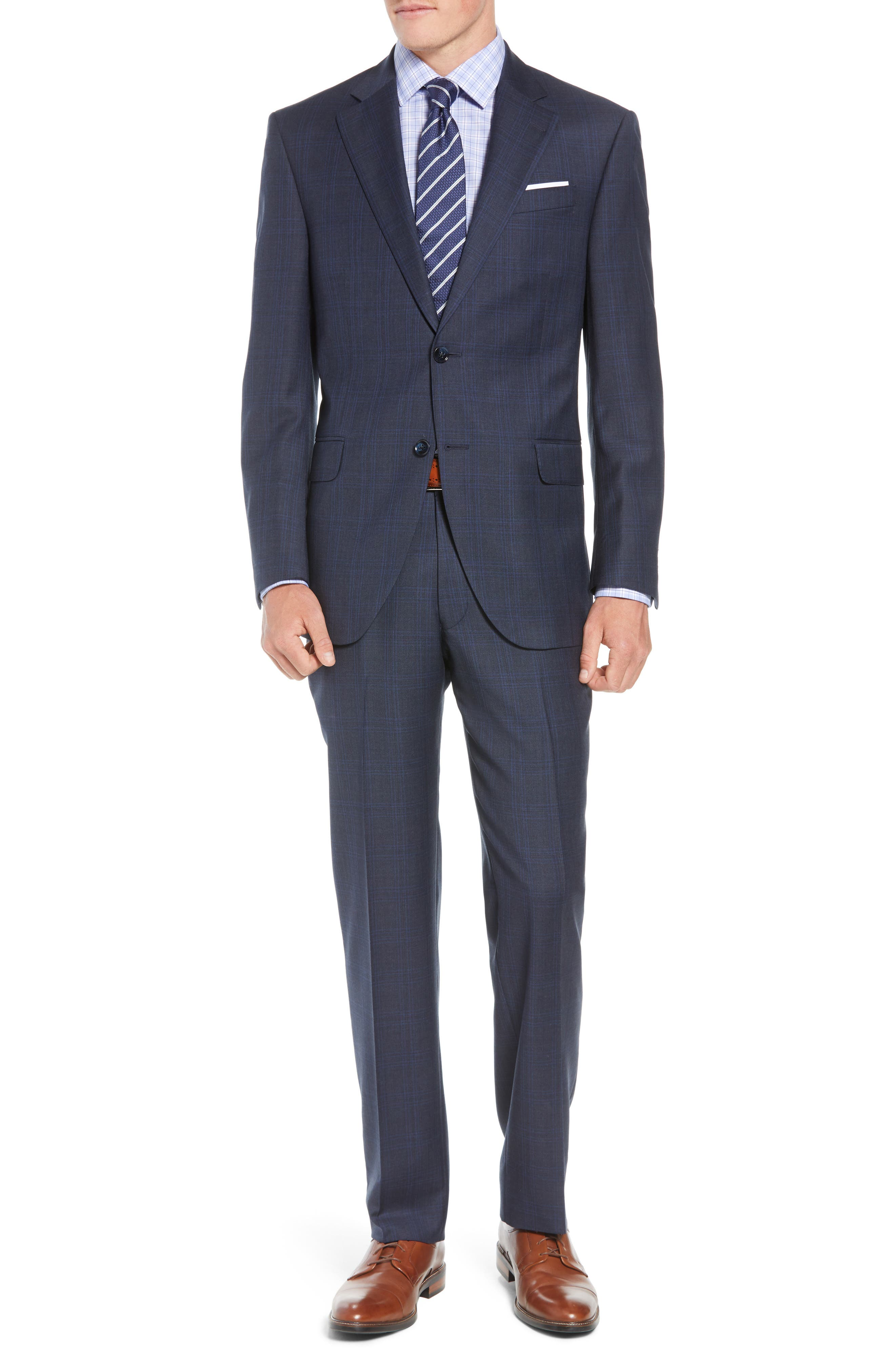 Flynn Classic Fit Plaid Wool Suit,                         Main,                         color, NAVY