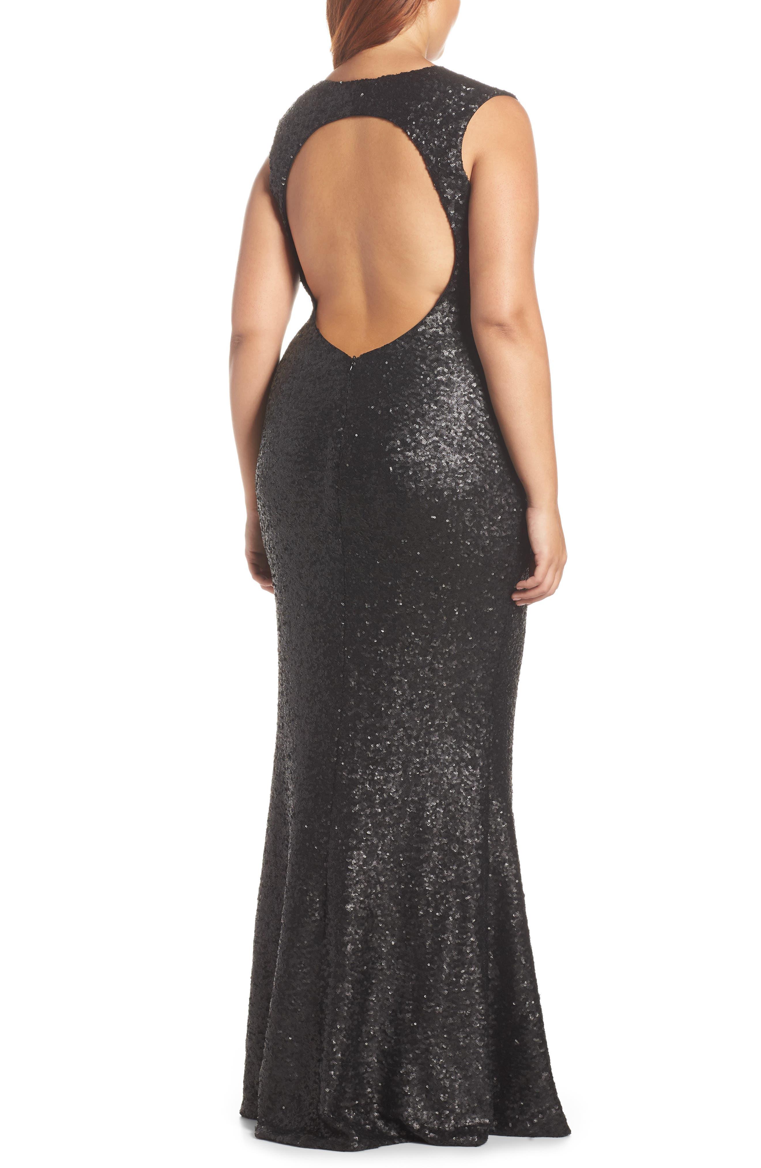 Karina Plunge Mermaid Gown,                             Alternate thumbnail 7, color,                             MATTE BLACK