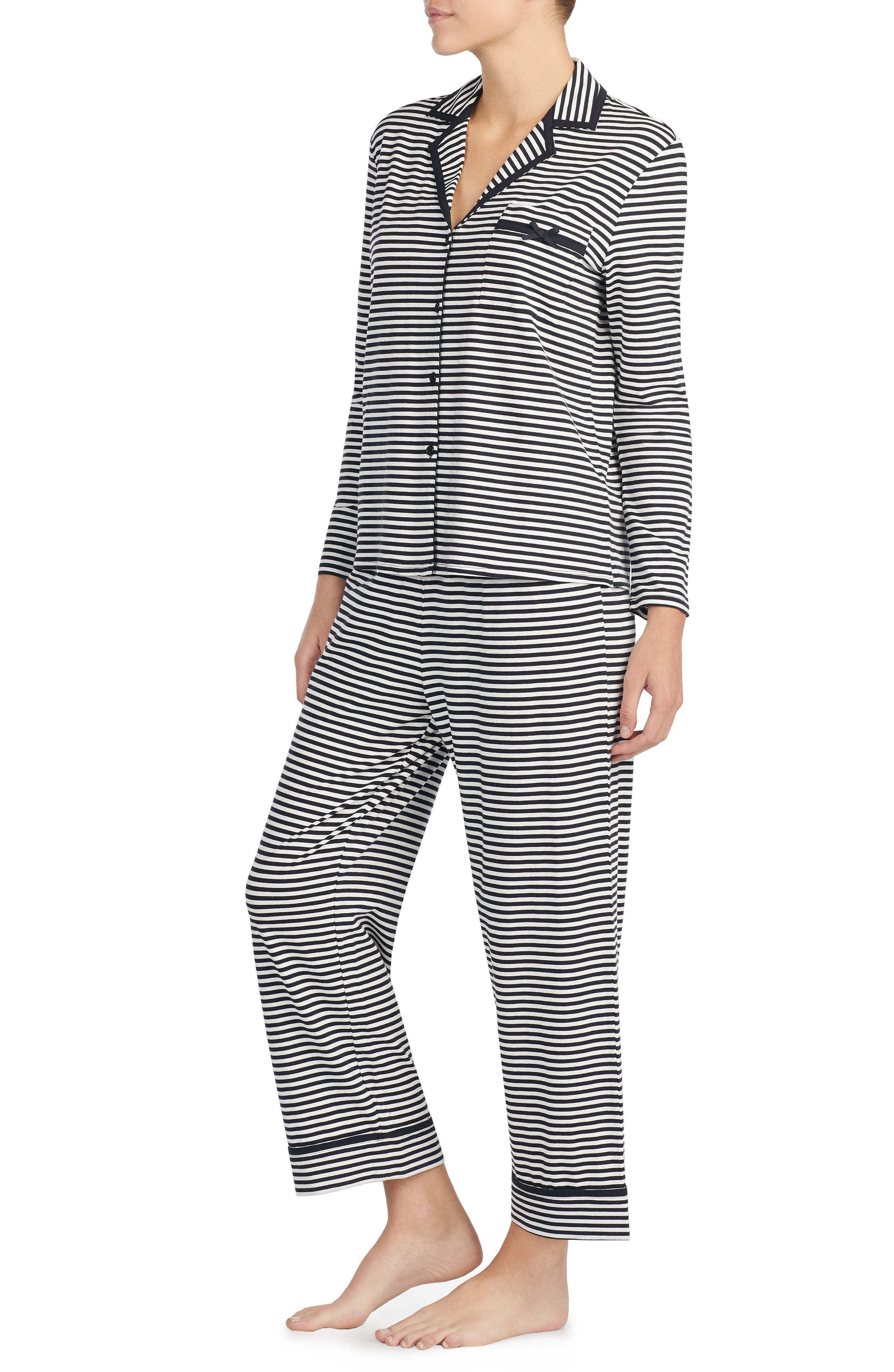 stripe crop jersey pajamas,                             Alternate thumbnail 3, color,                             010