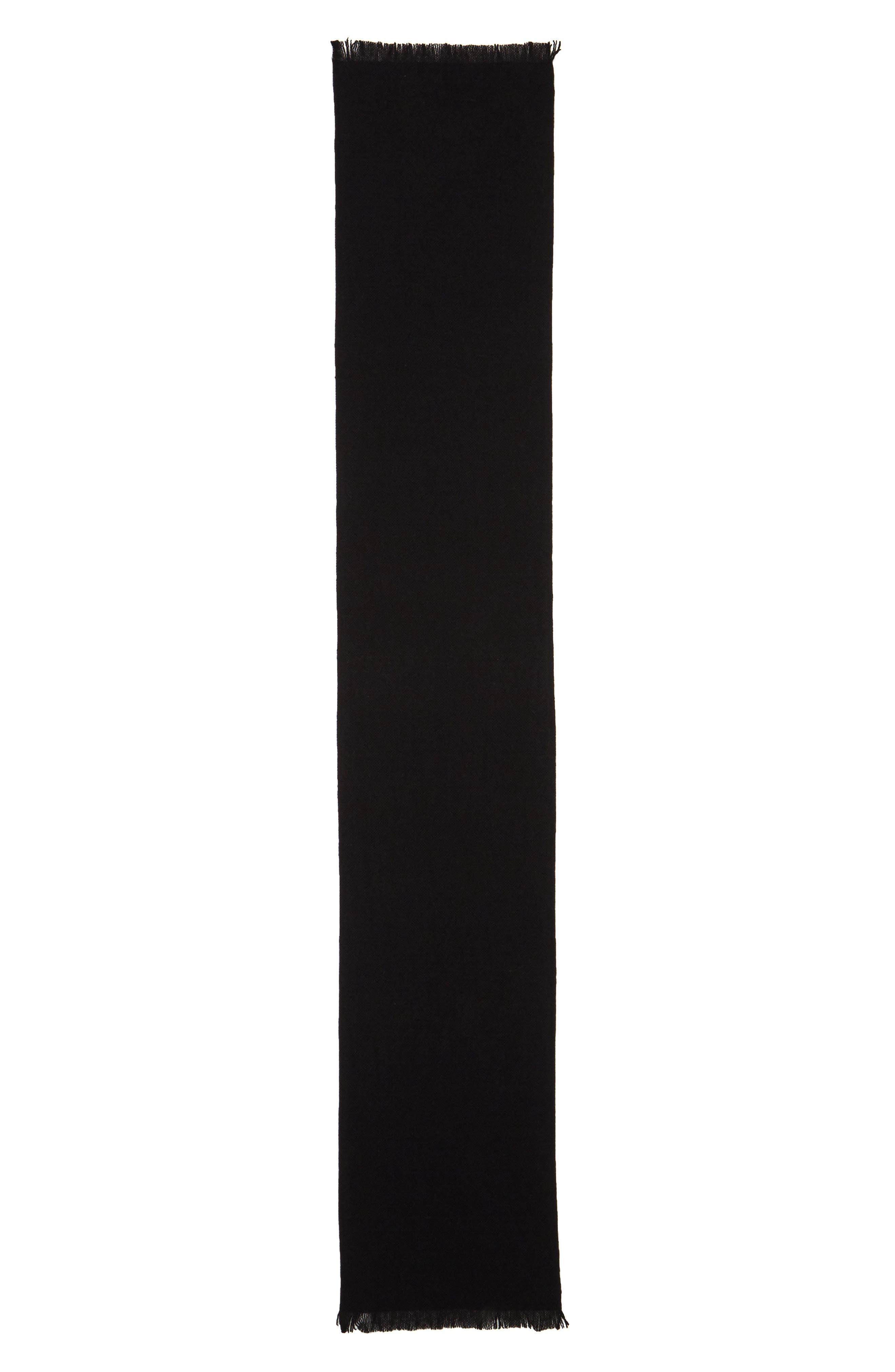 Solid Cashmere Scarf,                             Alternate thumbnail 2, color,                             BLACK