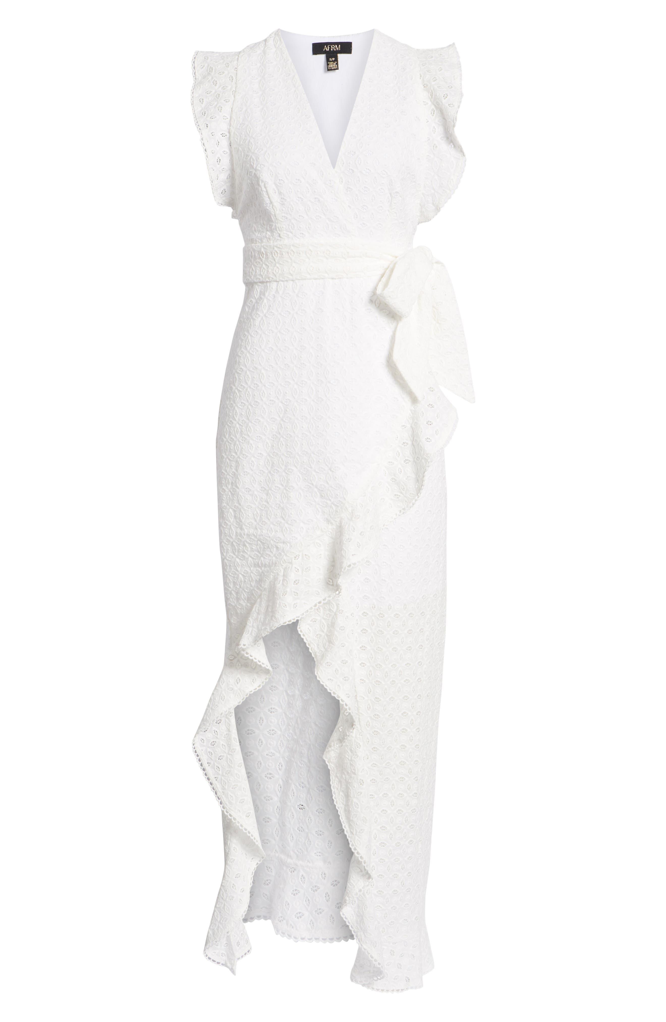 Andrea Ruffle Wrap Dress,                             Alternate thumbnail 7, color,                             101