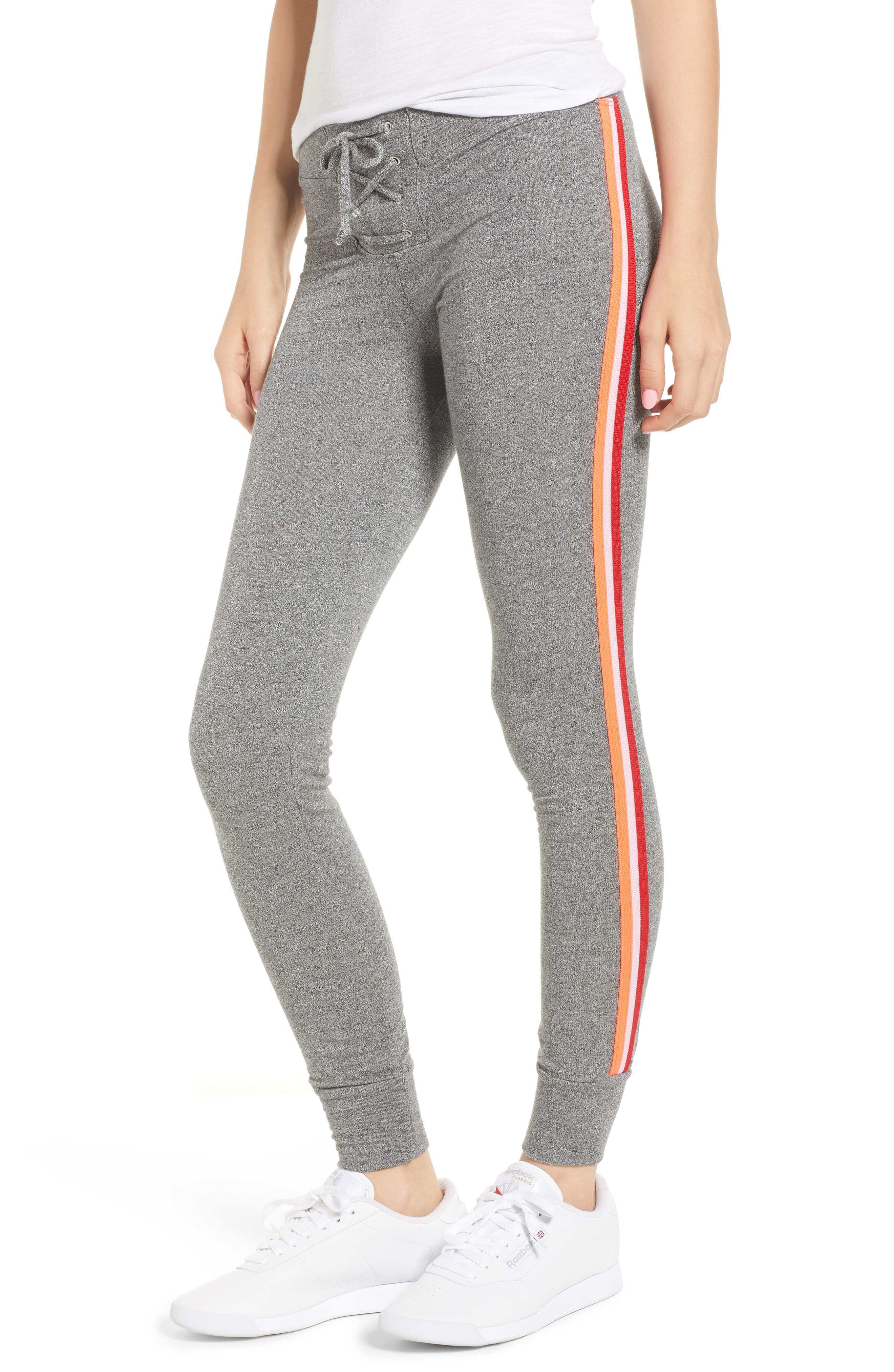 SUNDRY Lace-Up Skinny Sweatpants, Main, color, 039
