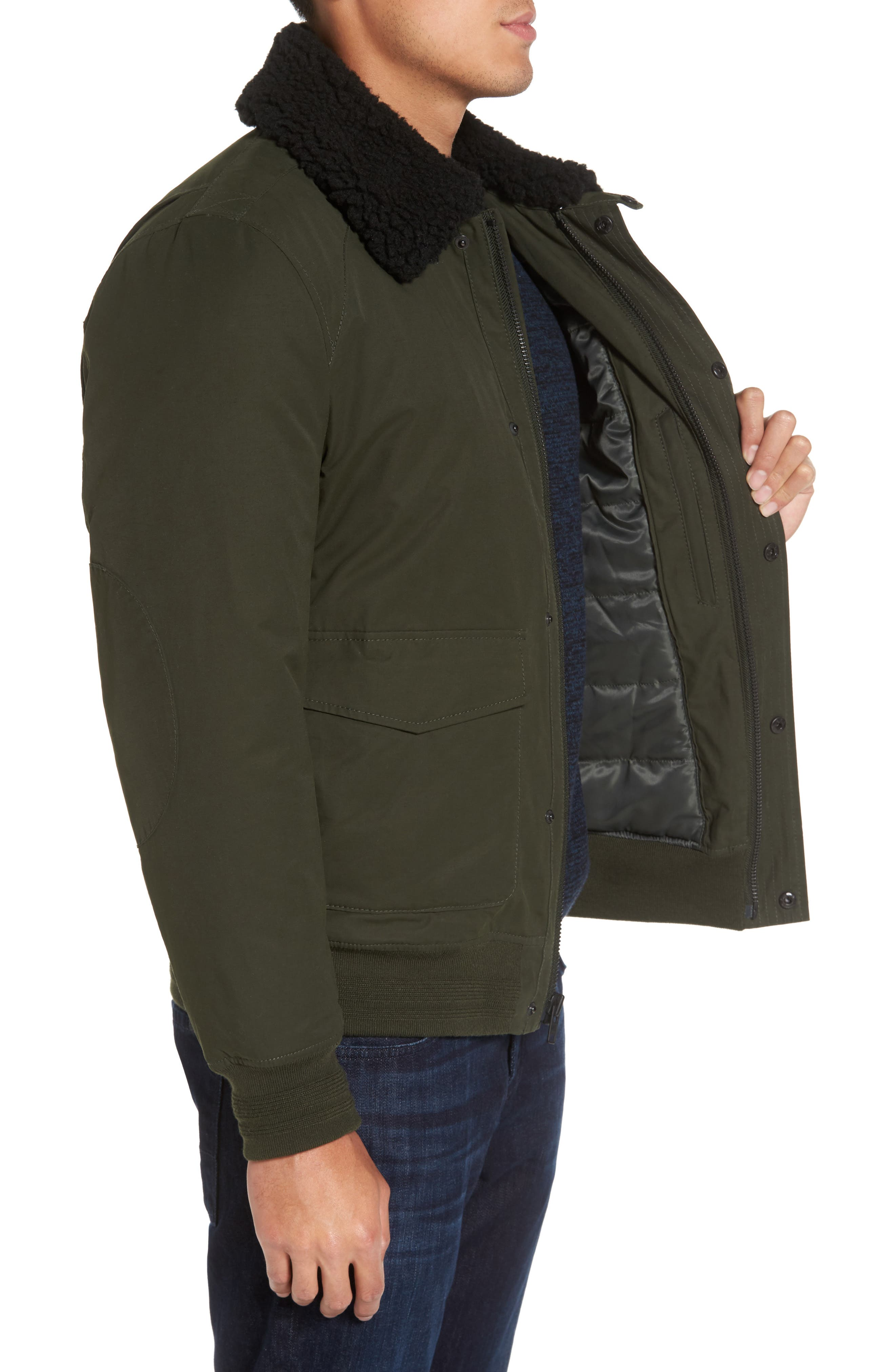 Flight Bomber Jacket with Faux Shearling Trim,                             Alternate thumbnail 3, color,