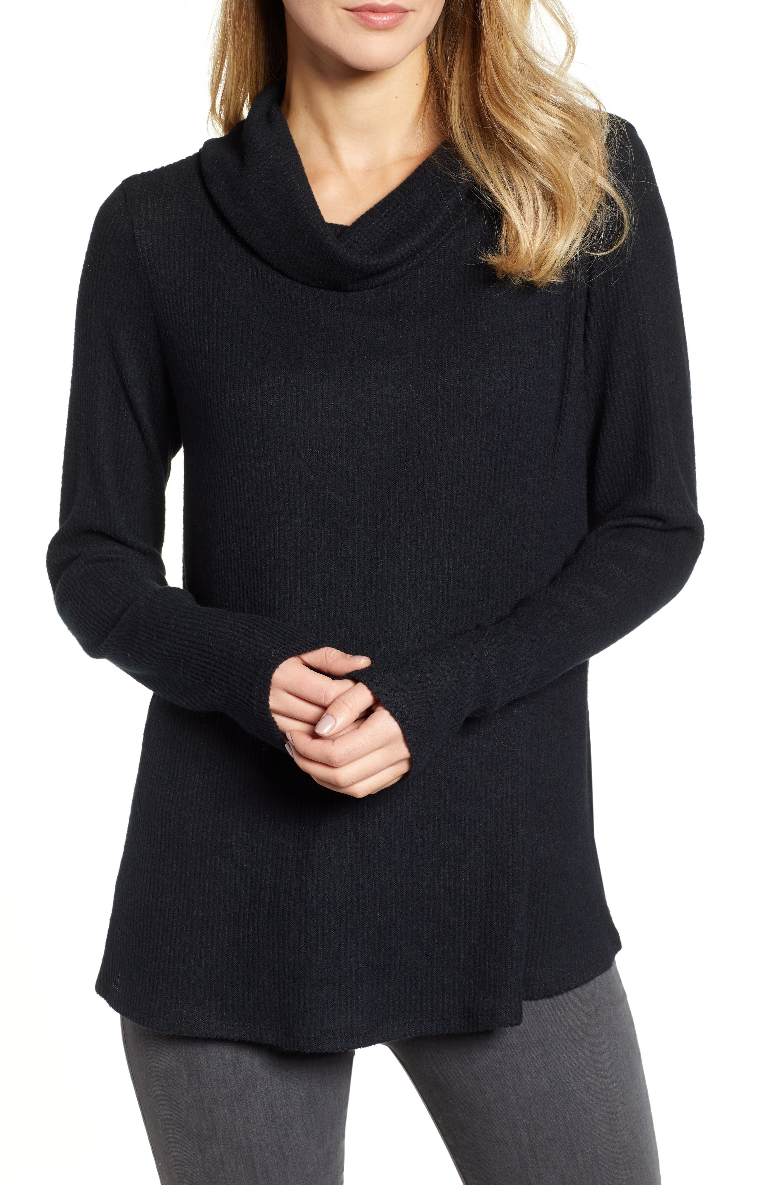 Off-Duty Cozy Ribbed Tunic, Main, color, BLACK