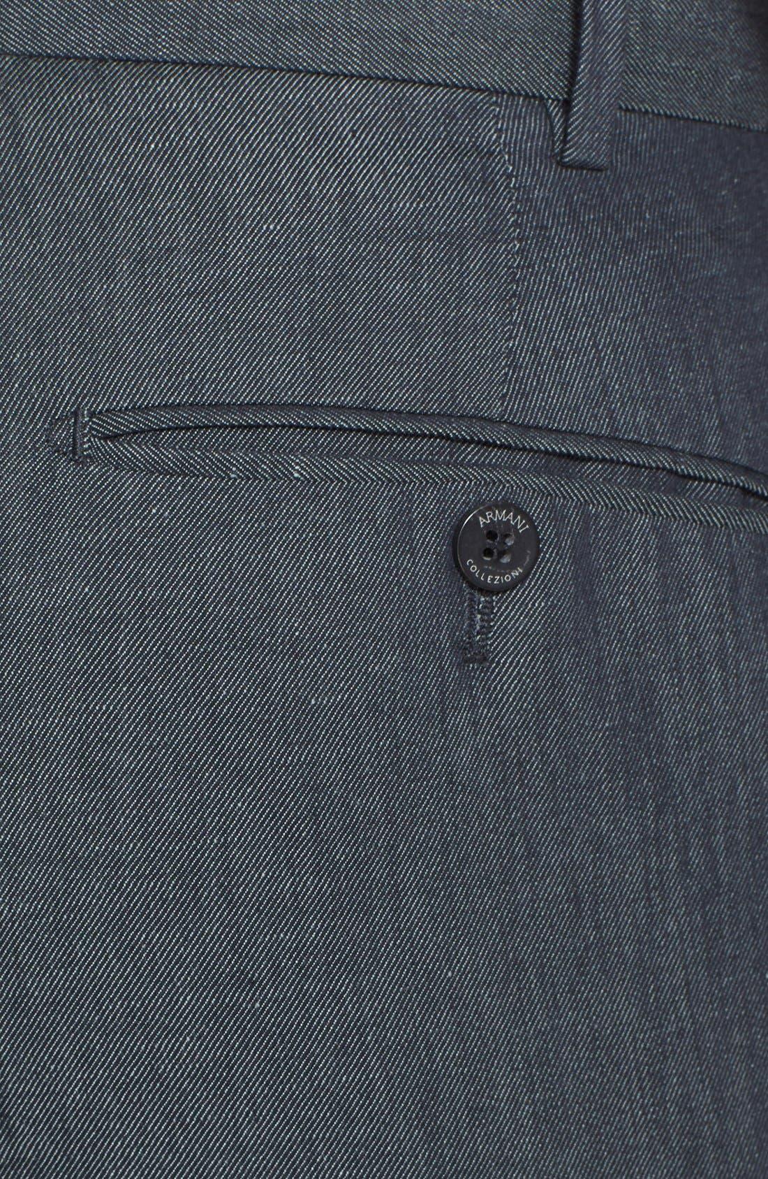 Armani Collezioni Flax & Cotton Flat Front Trousers,                             Alternate thumbnail 4, color,                             034