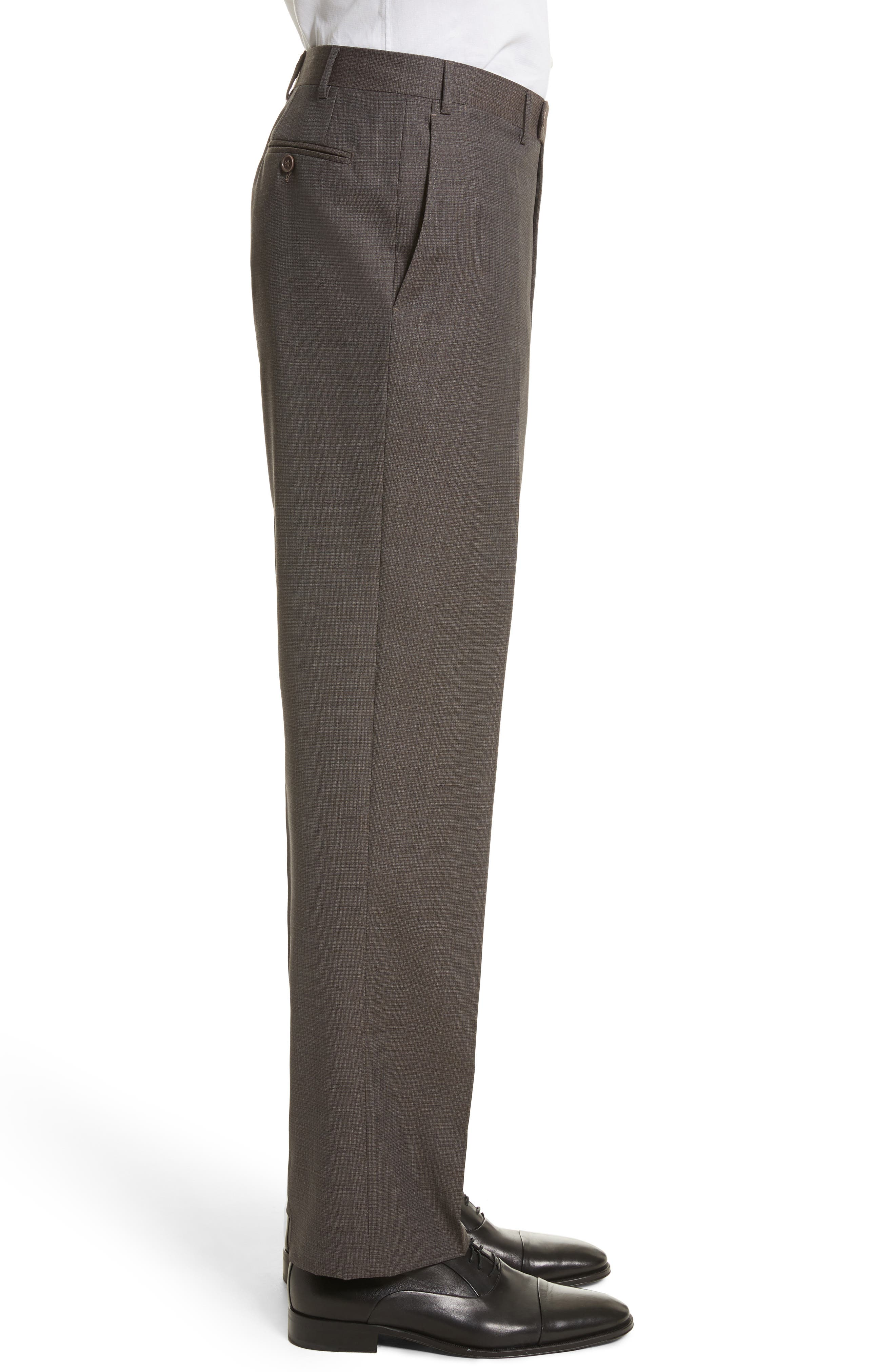 Flat Front Check Wool Trousers,                             Alternate thumbnail 4, color,                             251