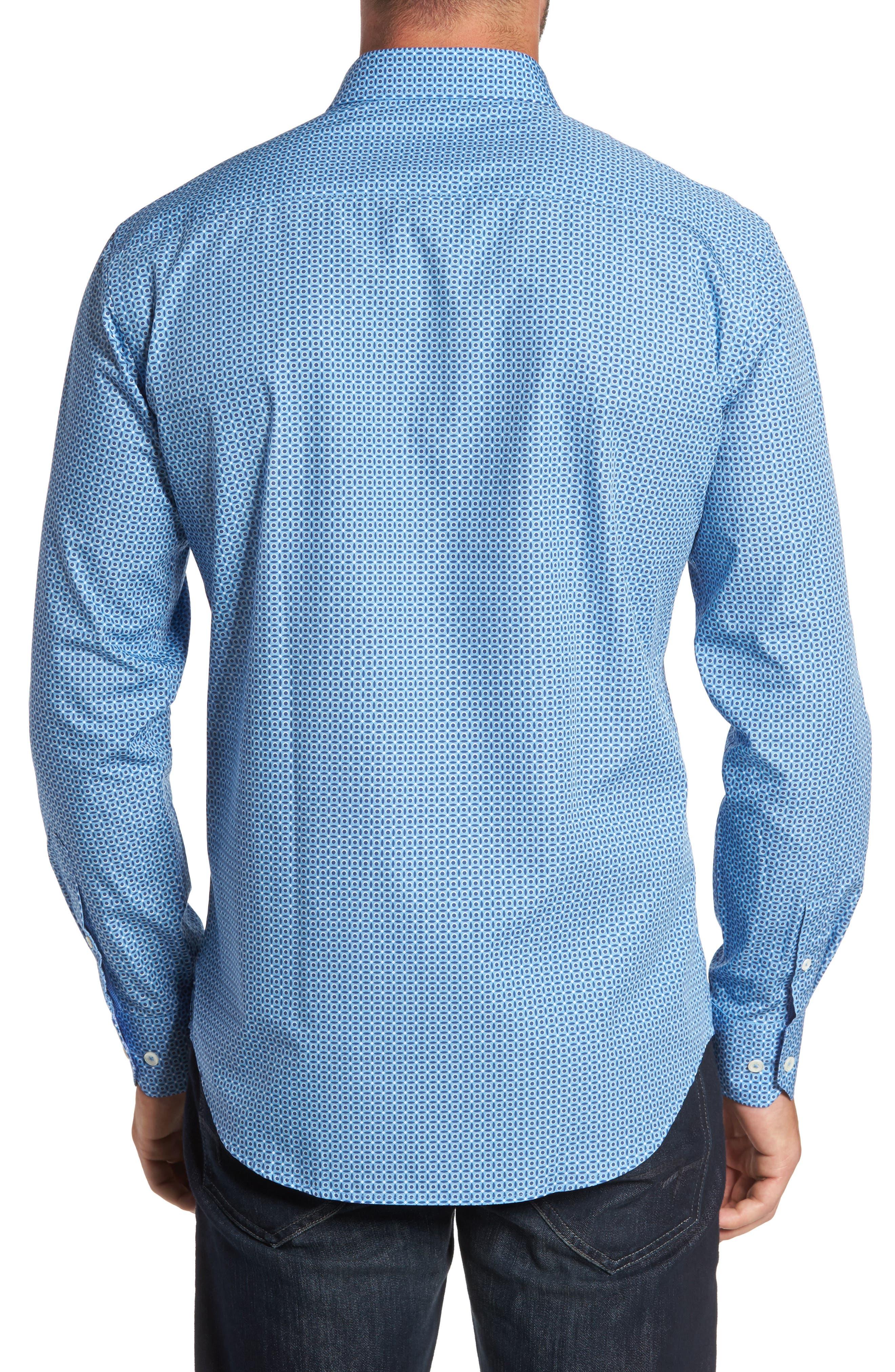 Trim Fit Dot Print Sport Shirt,                             Alternate thumbnail 2, color,                             400