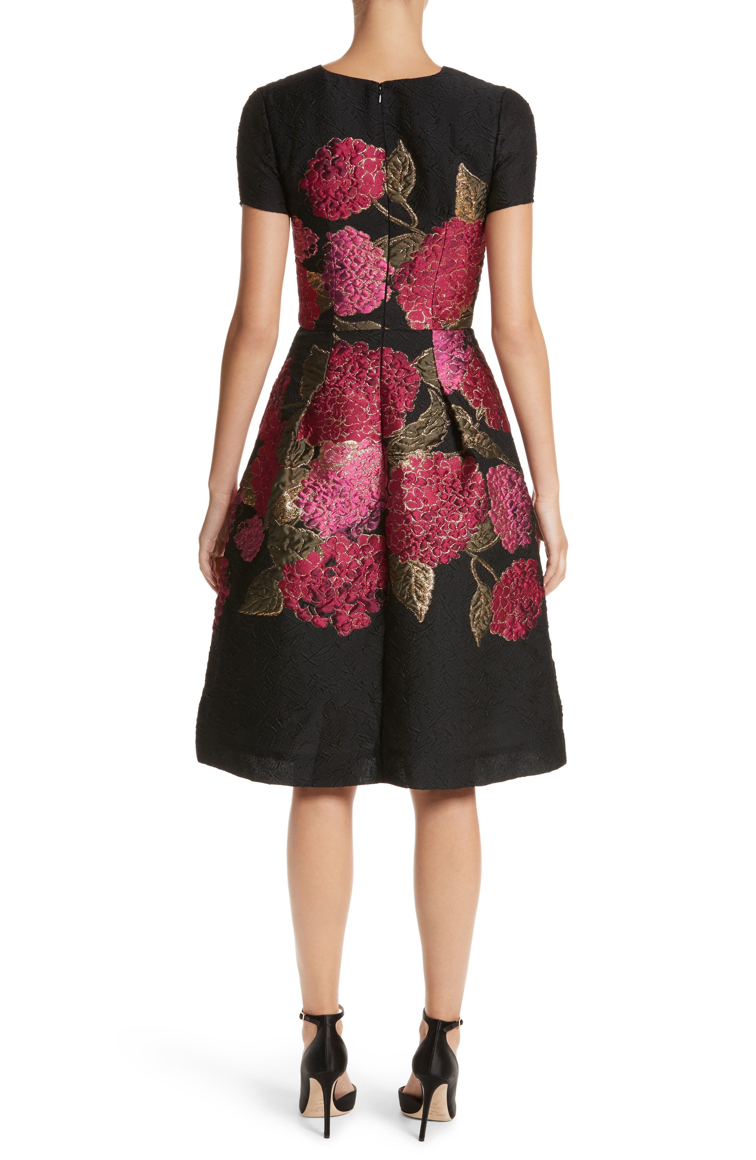 Embroidered Brocade Fit & Flare Dress,                             Alternate thumbnail 2, color,                             001