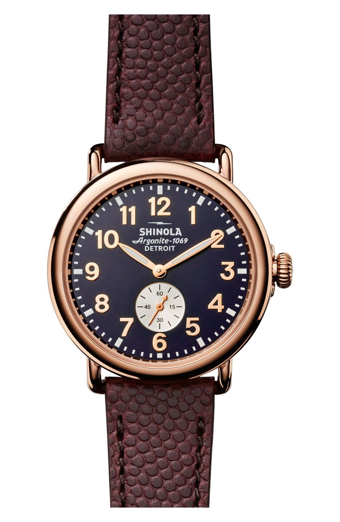 'The Runwell' Leather Strap Watch, 41mm,                             Main thumbnail 1, color,                             BROWN/ BLUE