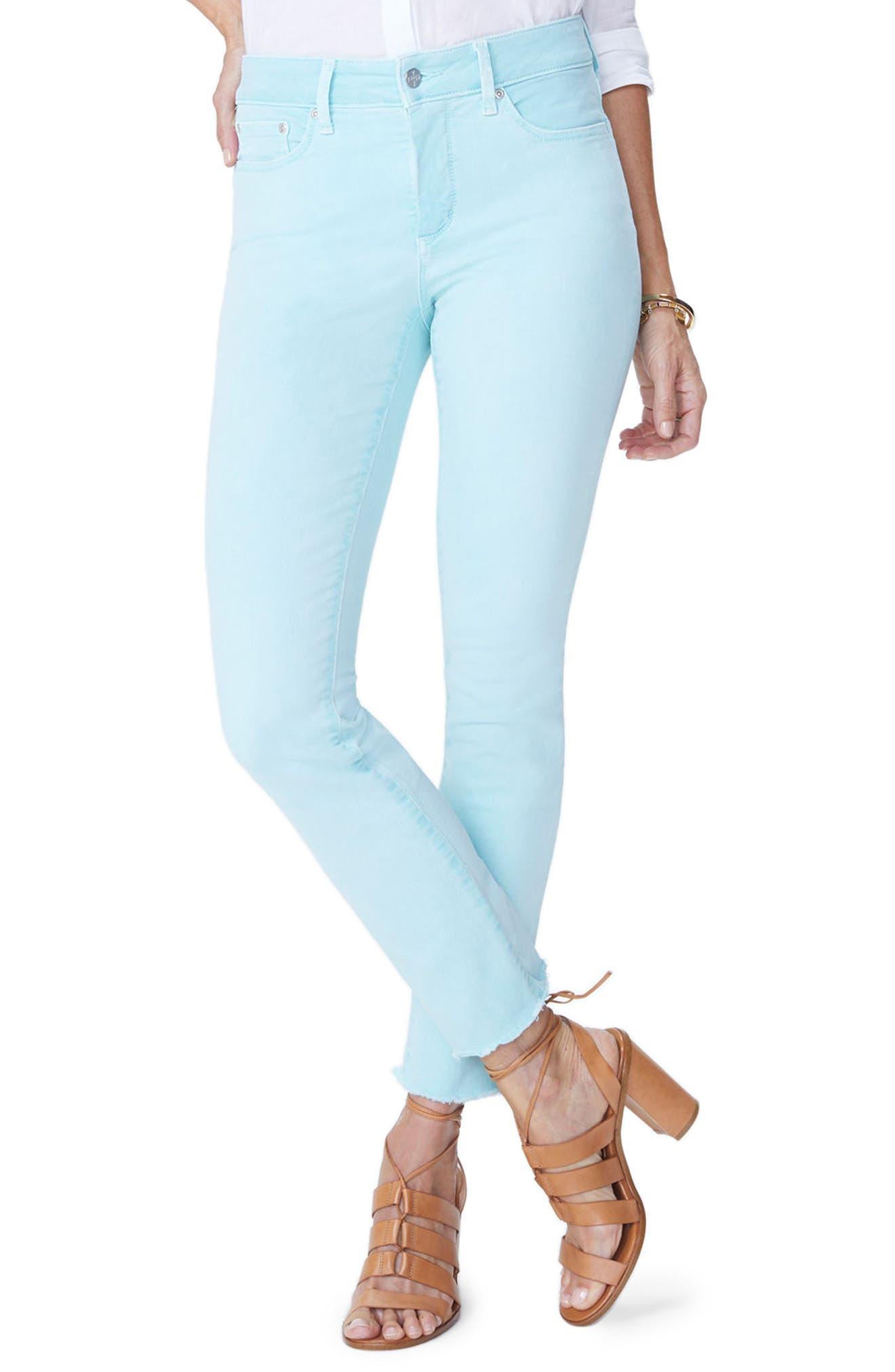 Sheri High Waist Frayed Hem Stretch Slim Ankle Jeans,                             Main thumbnail 1, color,                             PALE CABANA