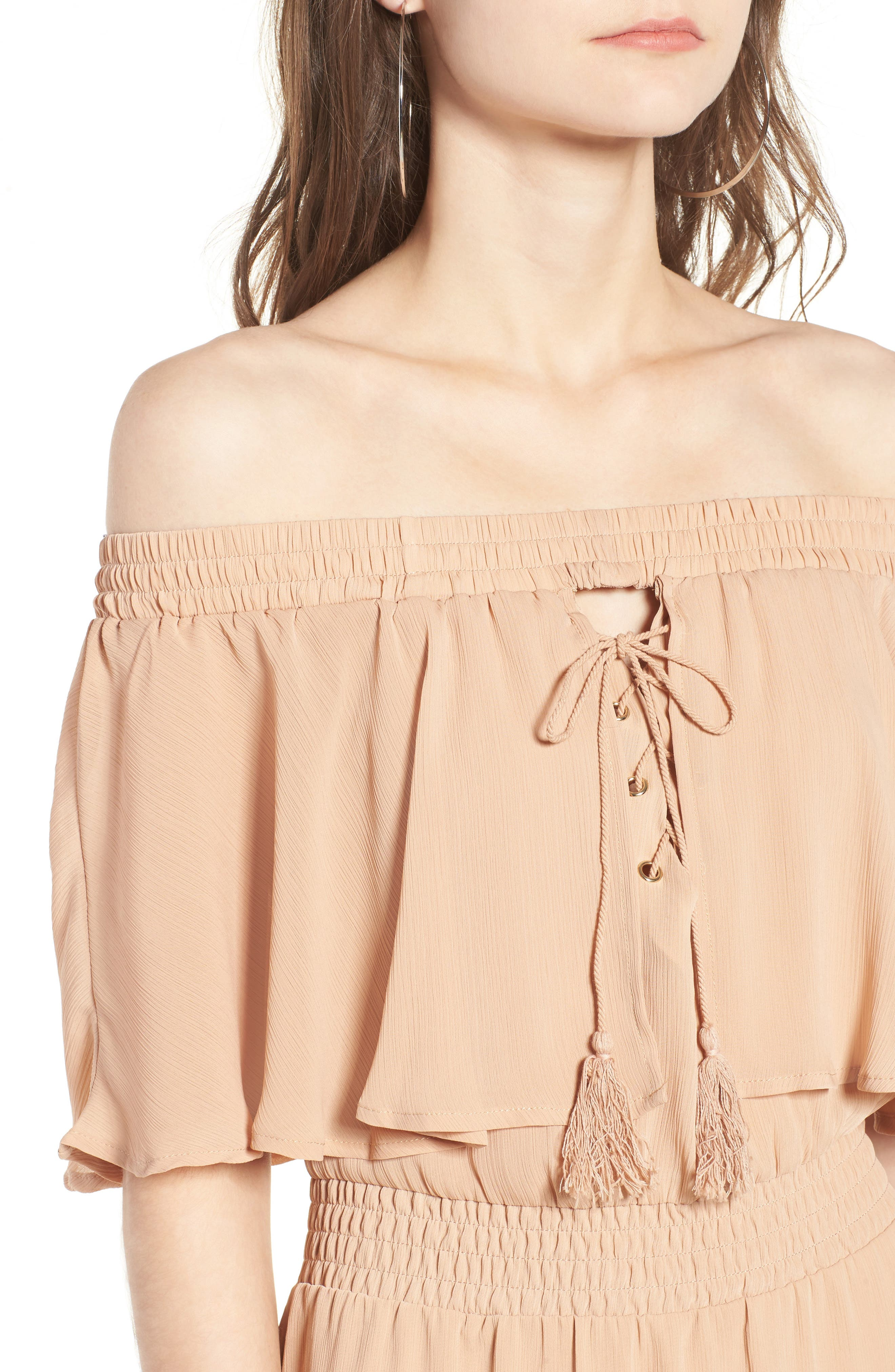 Touch the Sun Off the Shoulder Dress,                             Alternate thumbnail 8, color,