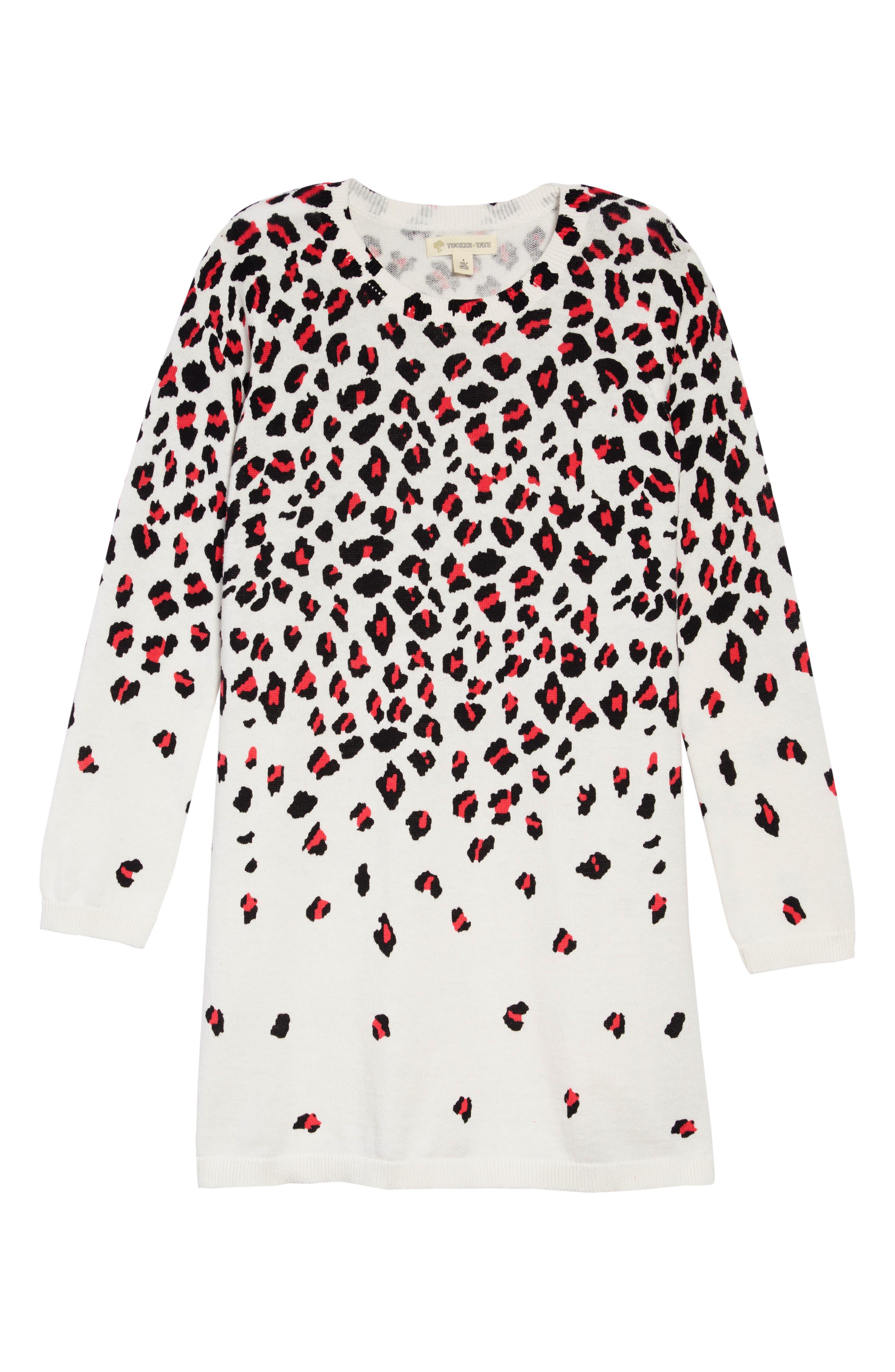 Sweater Dress,                             Main thumbnail 1, color,                             IVORY EGRET CHEETAH