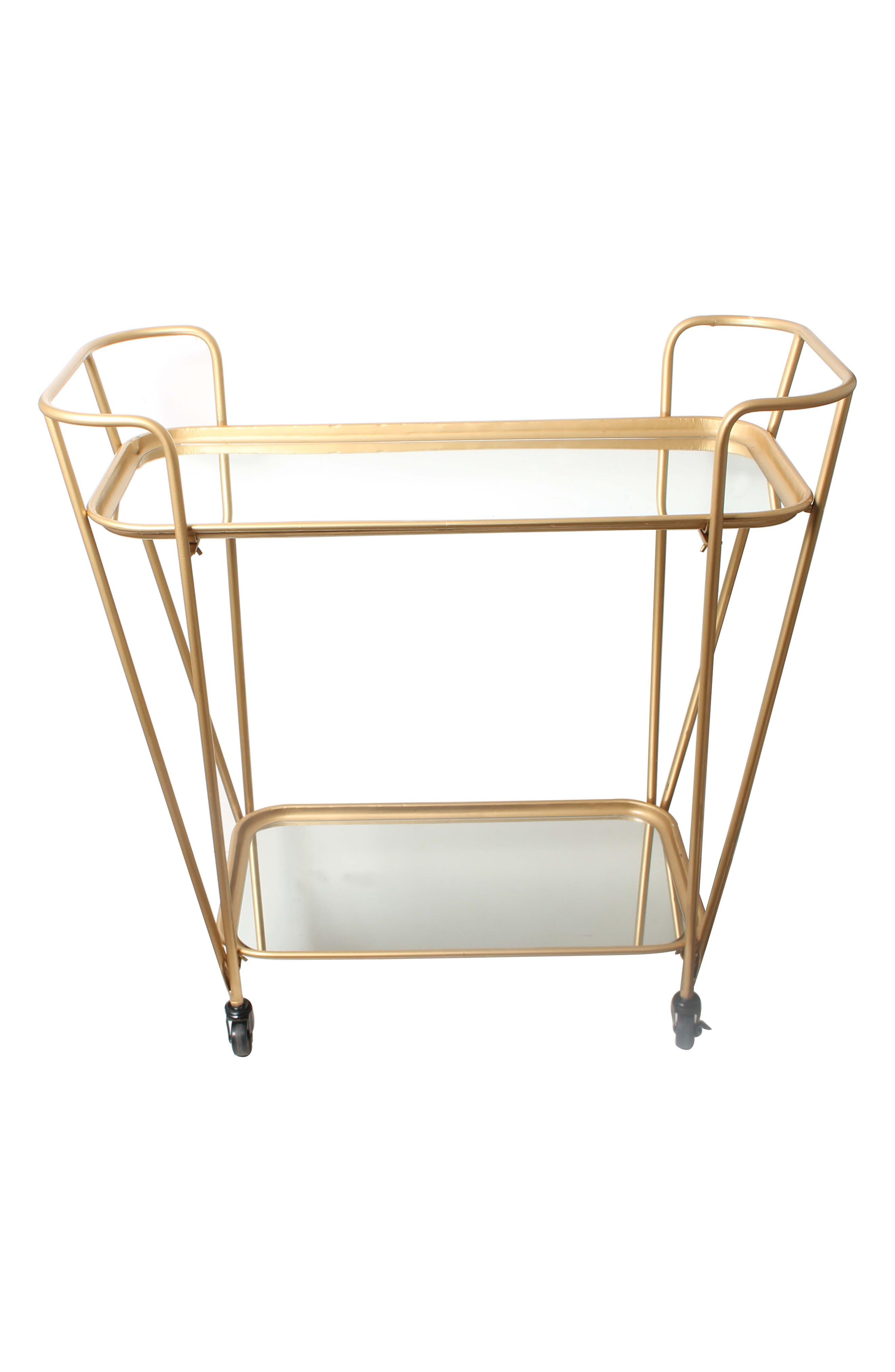 Metal Mirrored Rolling Bar Cart,                             Alternate thumbnail 2, color,                             METALLIC GOLD