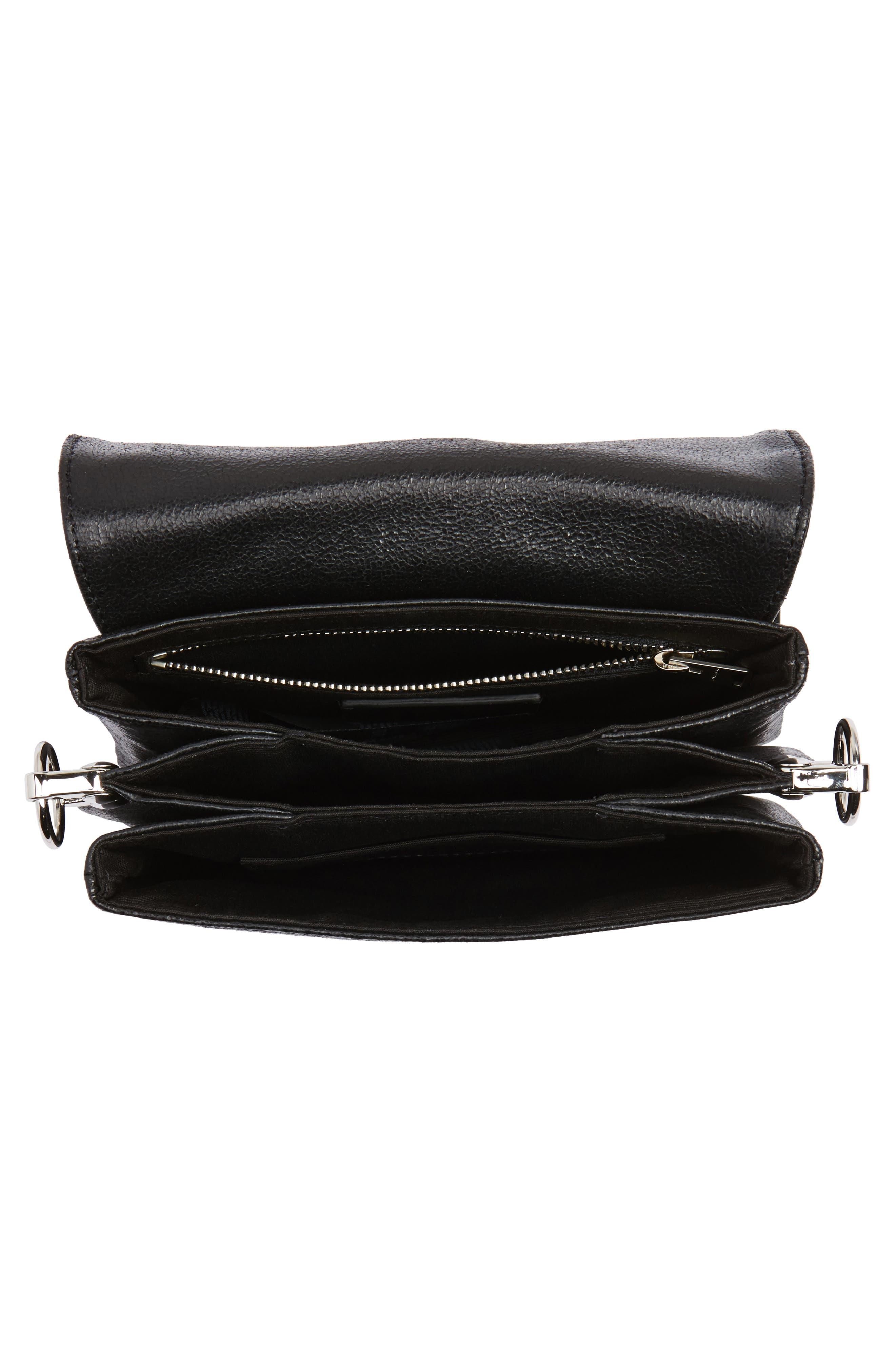 Zep Leather Shoulder Bag,                             Alternate thumbnail 4, color,                             001