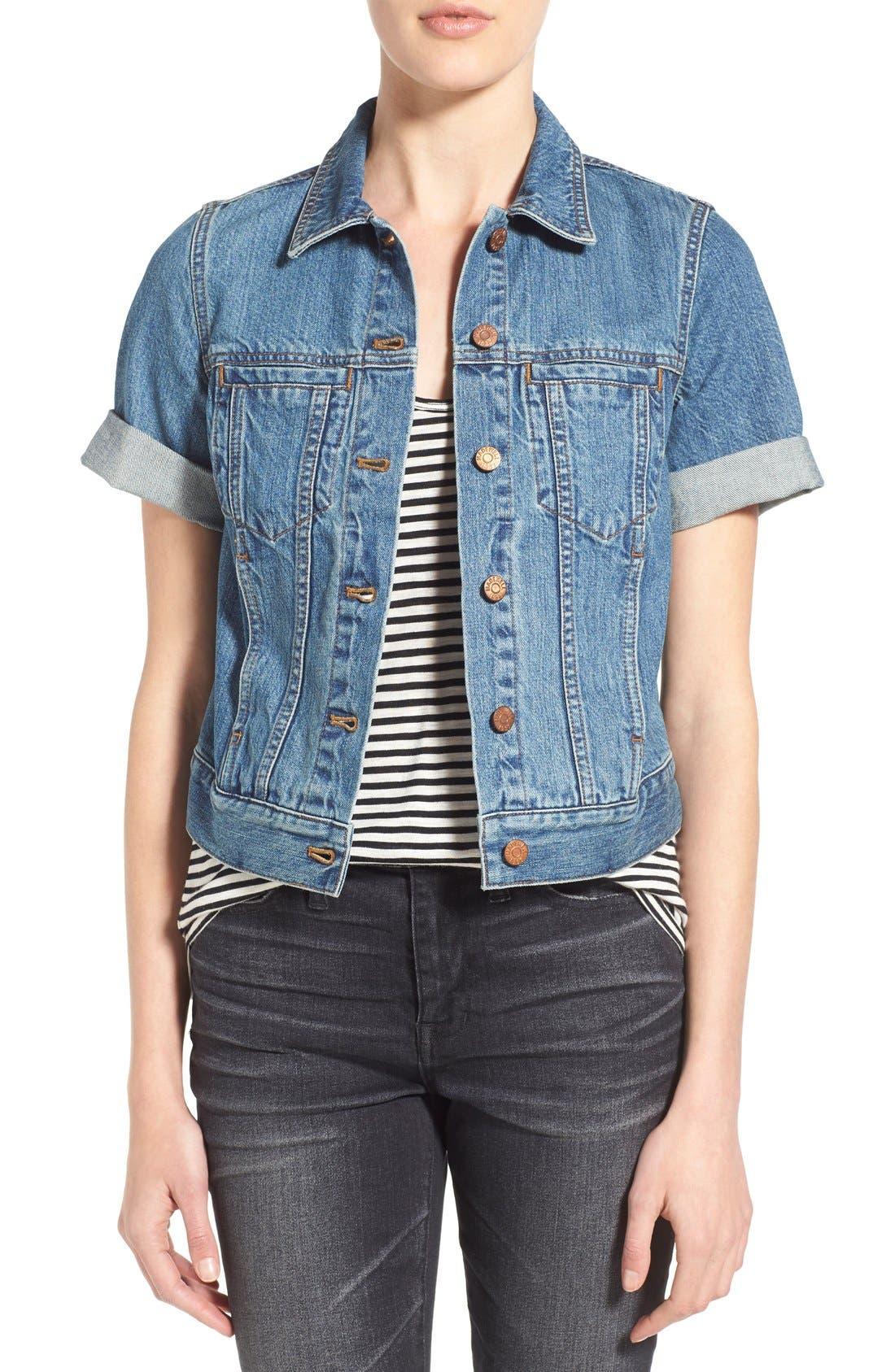 'Summer' Short Sleeve Denim Jacket,                             Main thumbnail 1, color,                             407