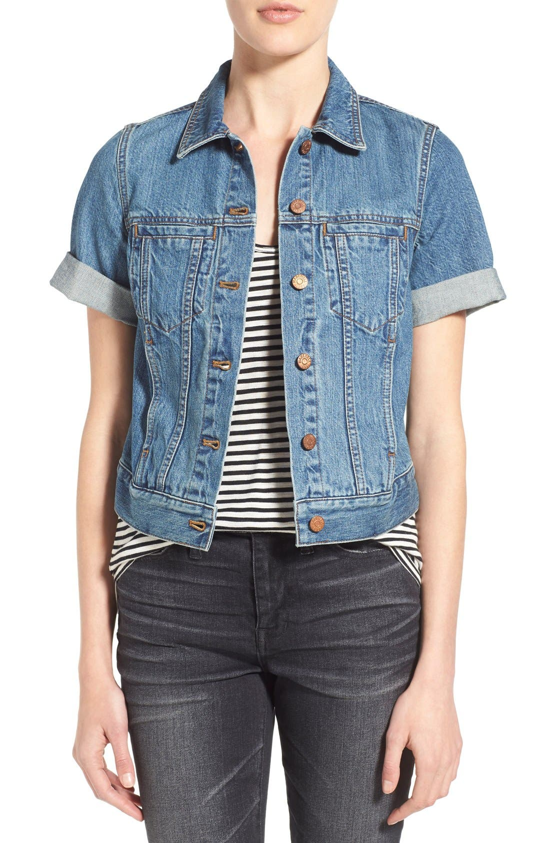 'Summer' Short Sleeve Denim Jacket, Main, color, 407