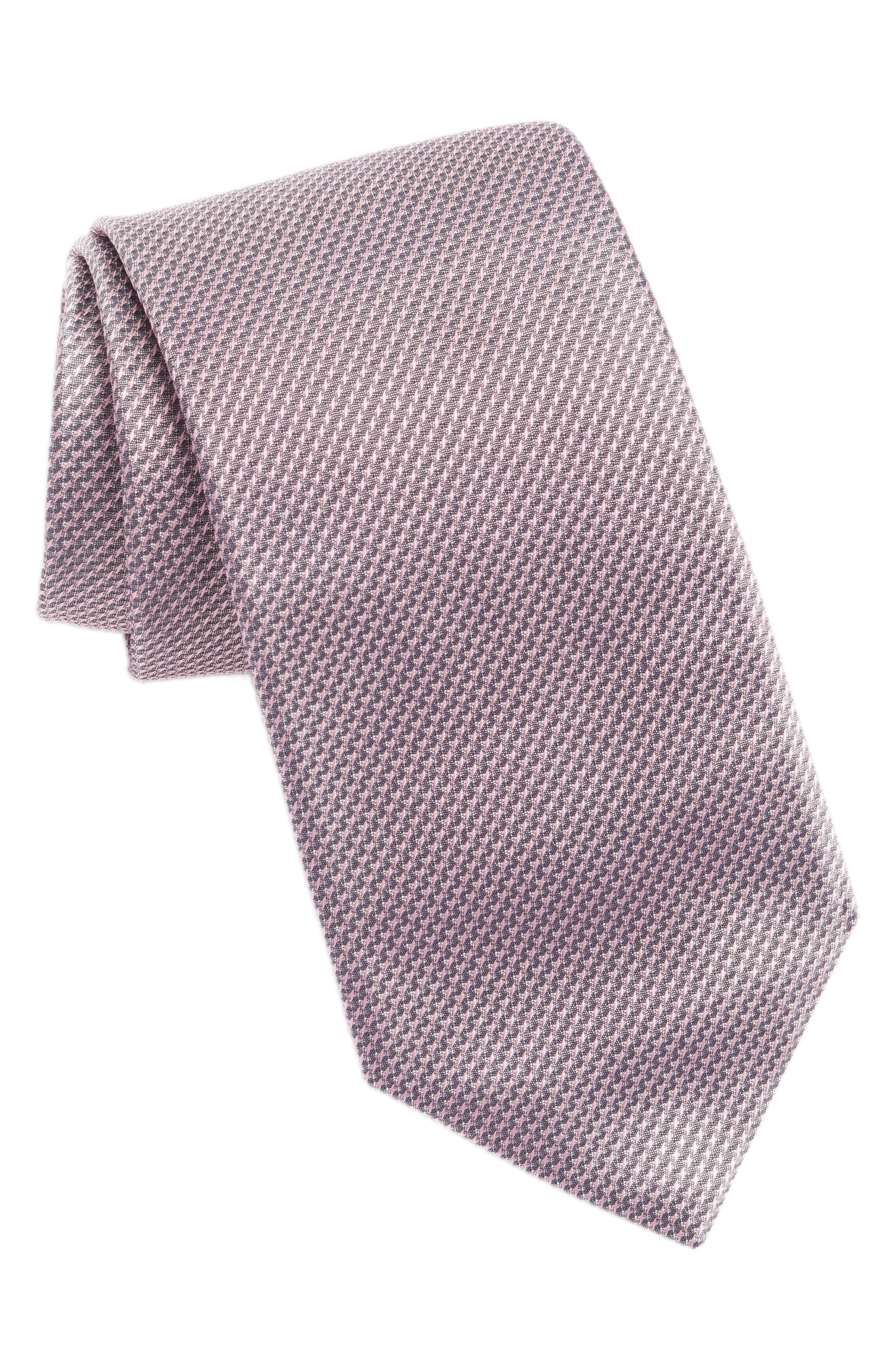 Geometric Silk Tie,                         Main,                         color, PINK