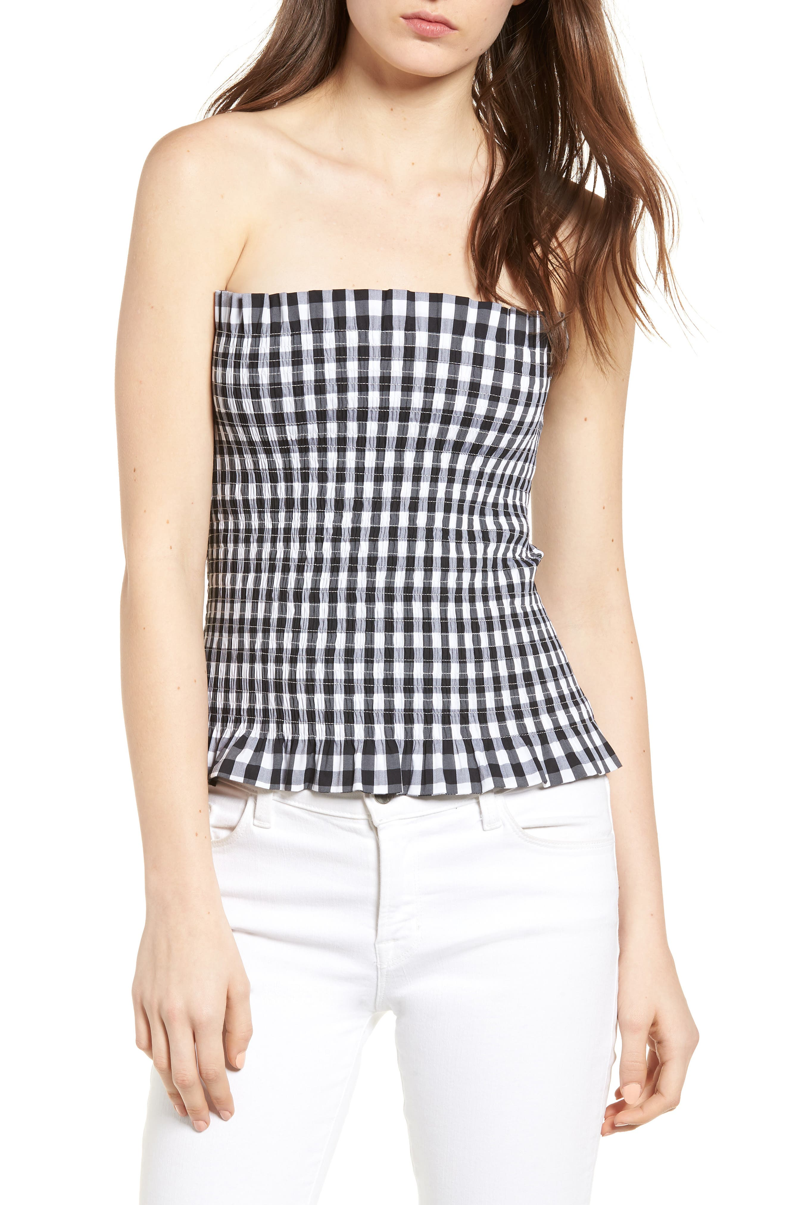 Bishop + Young Gingham Tube Top,                         Main,                         color, 001