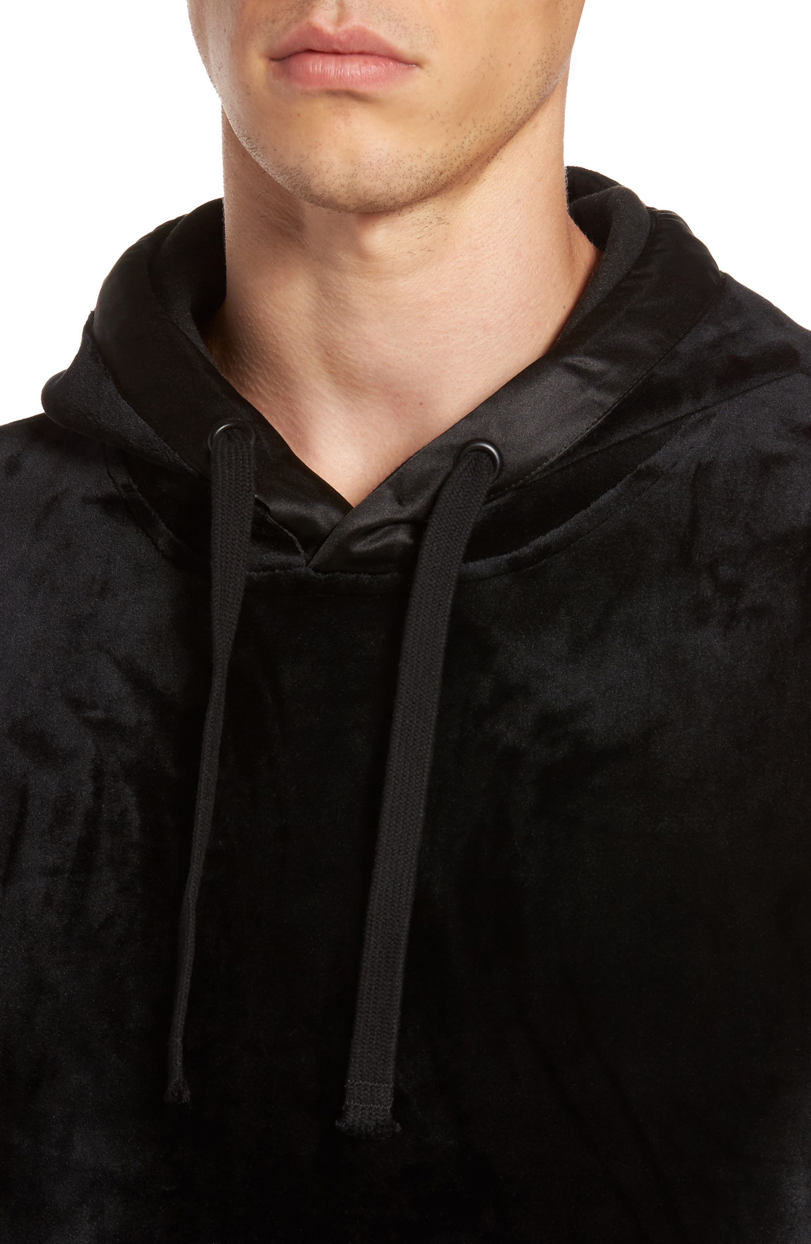 Fuzzy Pullover Hoodie,                             Alternate thumbnail 4, color,                             001