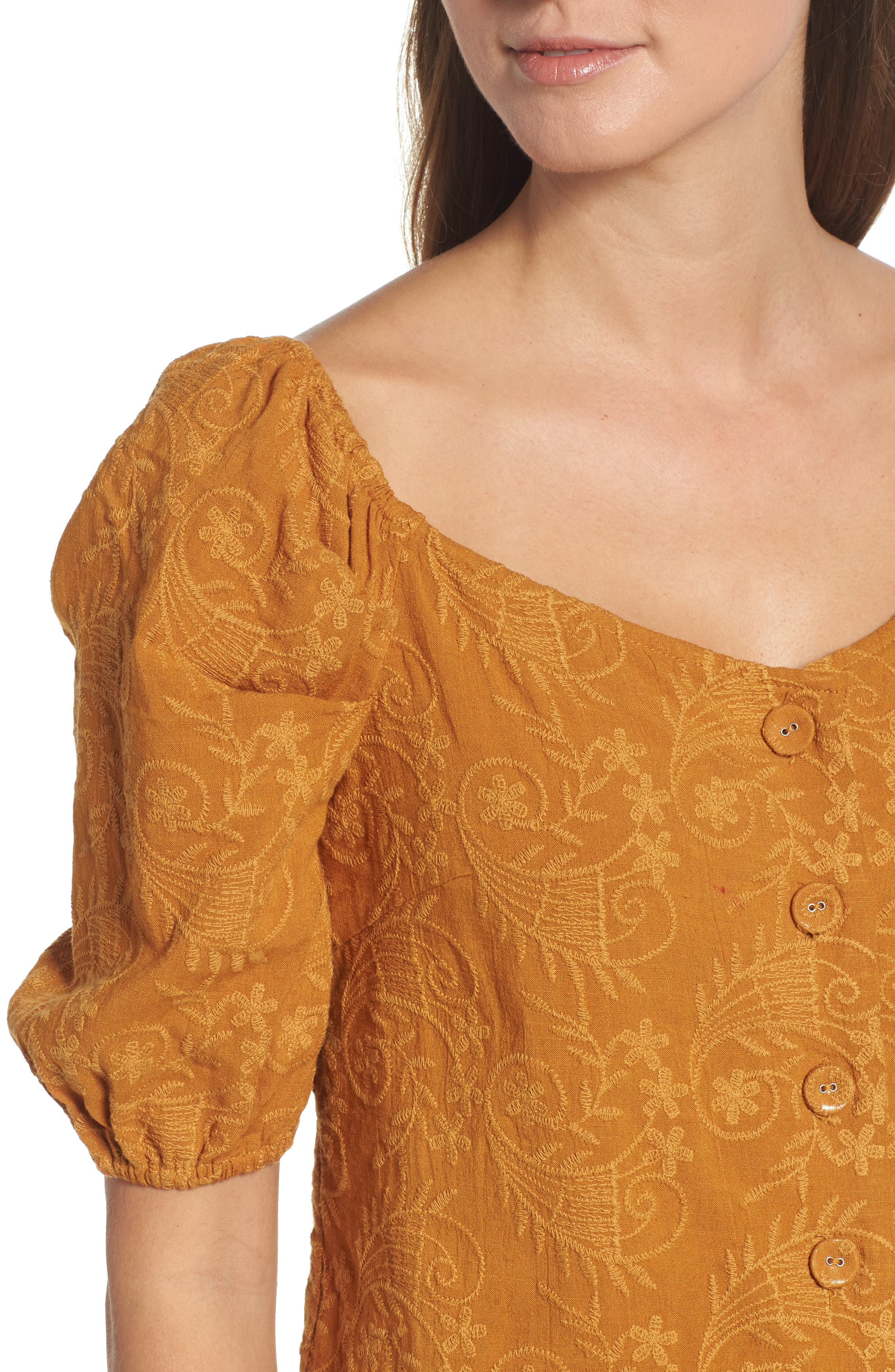 Embroidered Puff Sleeve Top,                             Alternate thumbnail 4, color,                             MAPLE
