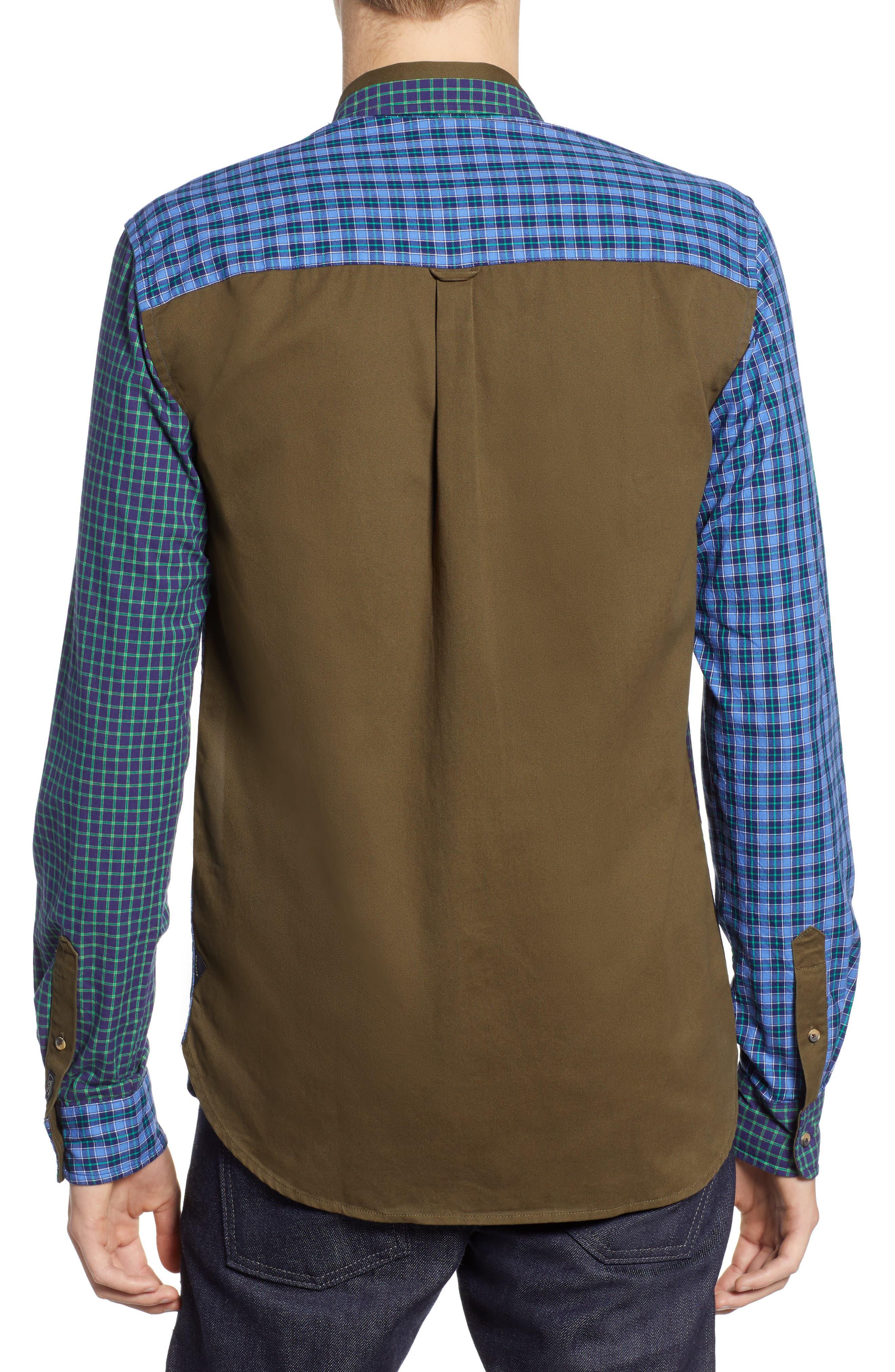 Regular Fit Pattern Blocked Sport Shirt,                             Alternate thumbnail 3, color,                             410
