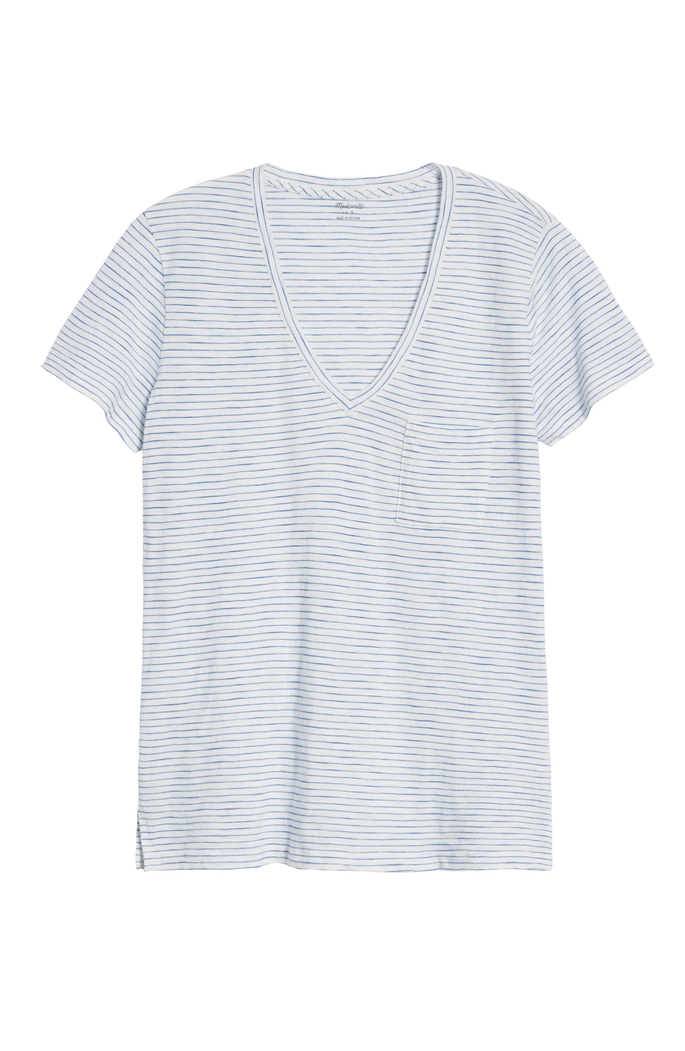 Whisper Cotton Stripe V-Neck Tee,                             Alternate thumbnail 7, color,                             BRIGHT IVORY