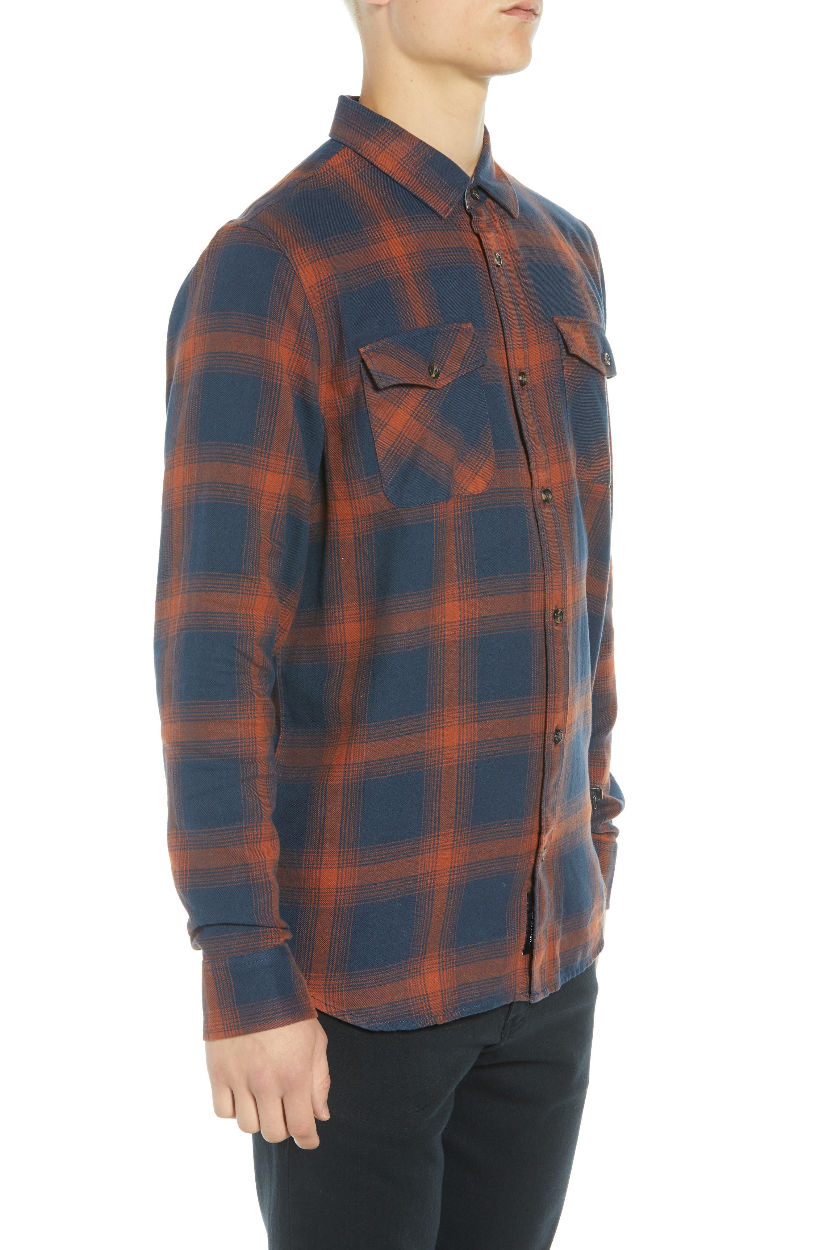 Monterey III Plaid Flannel Shirt,                             Alternate thumbnail 4, color,                             DRESS BLUES/ SEQUOIA