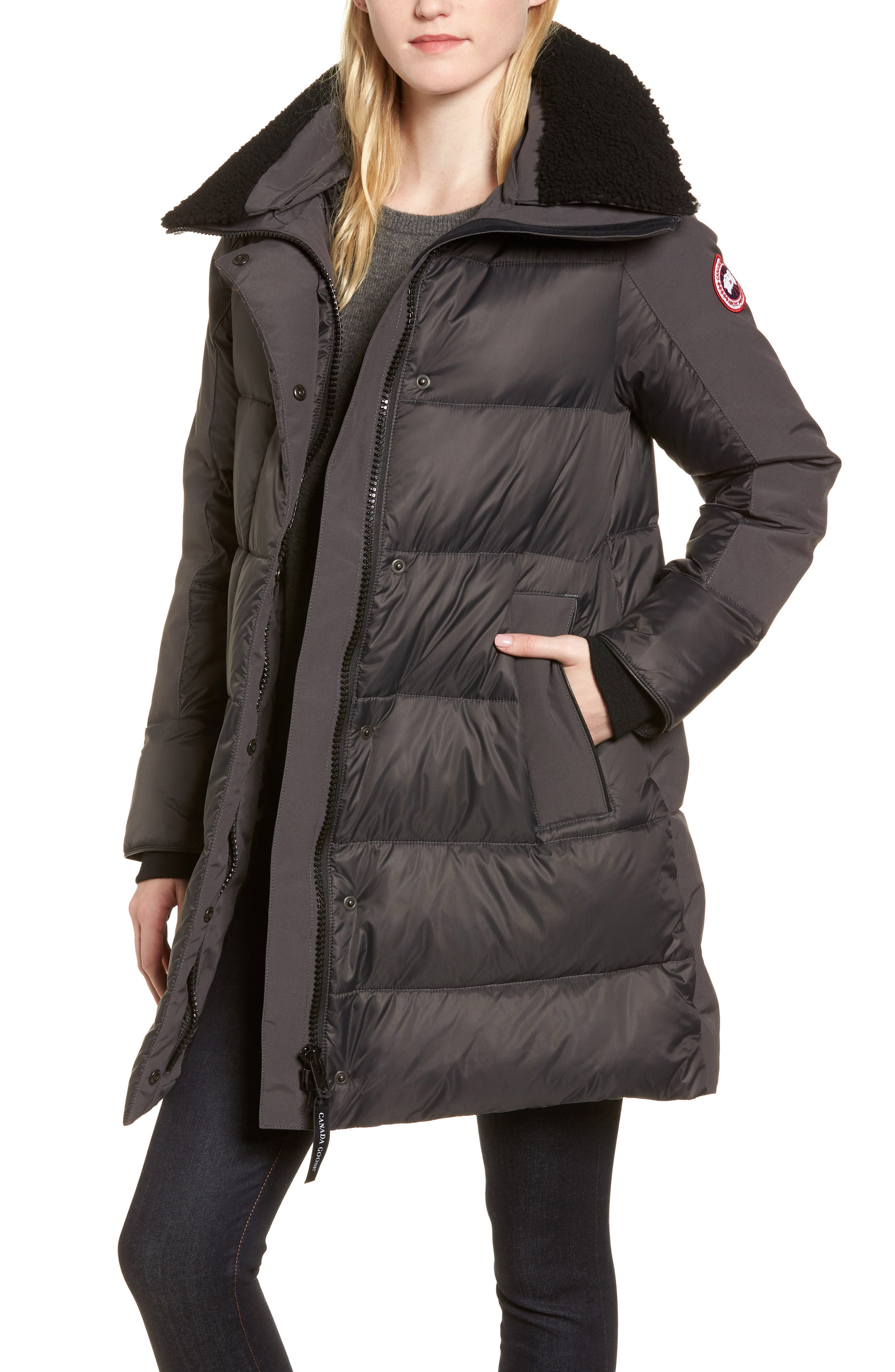 Canada Goose Altona Water Resistant 750-Fill Power Down Parka With Genuine Shearling Collar, (0) - Grey