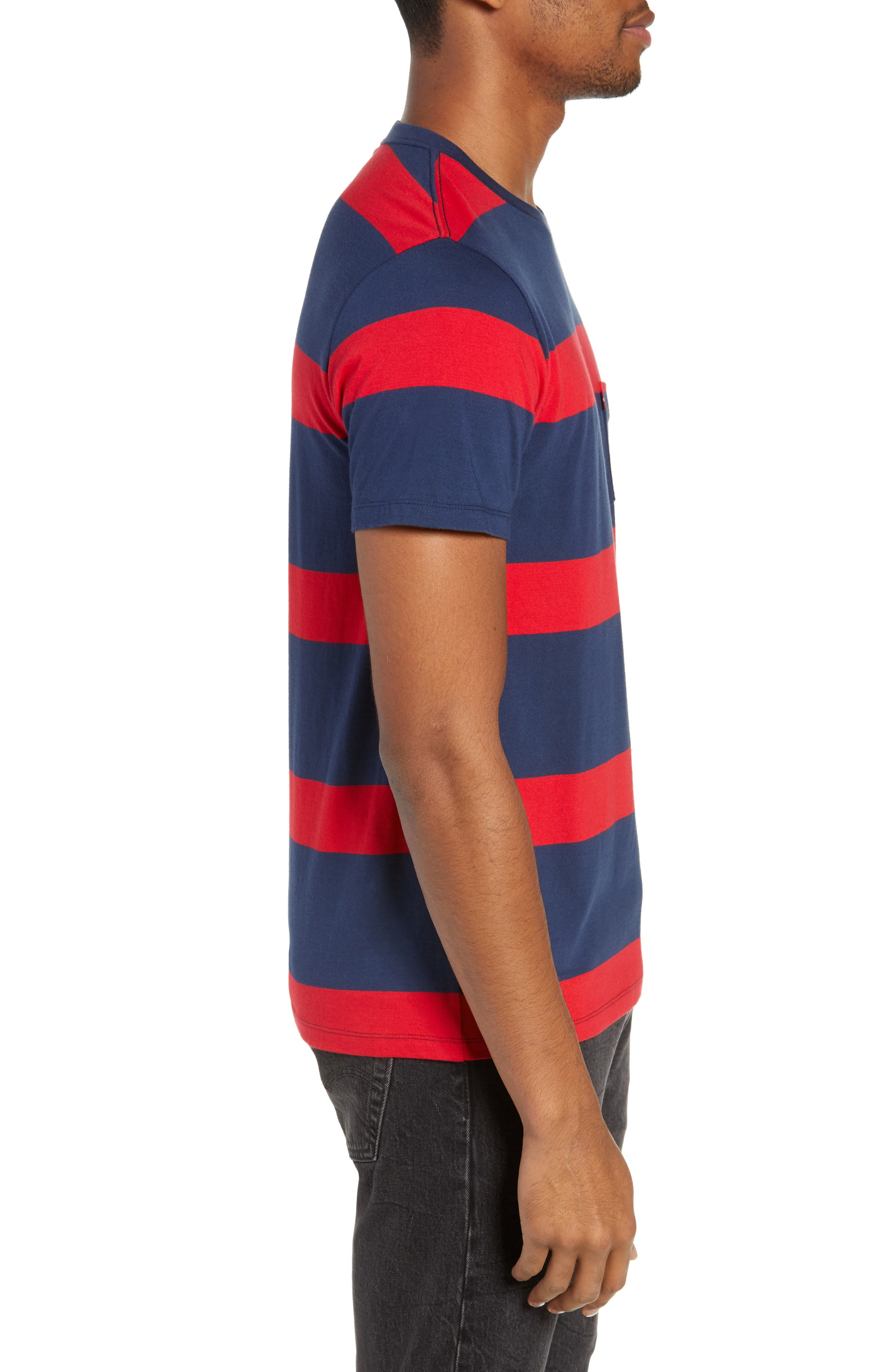 Stripe Pocket T-Shirt,                             Alternate thumbnail 3, color,                             DRESS BLUES/ CRIMSON STRIPES
