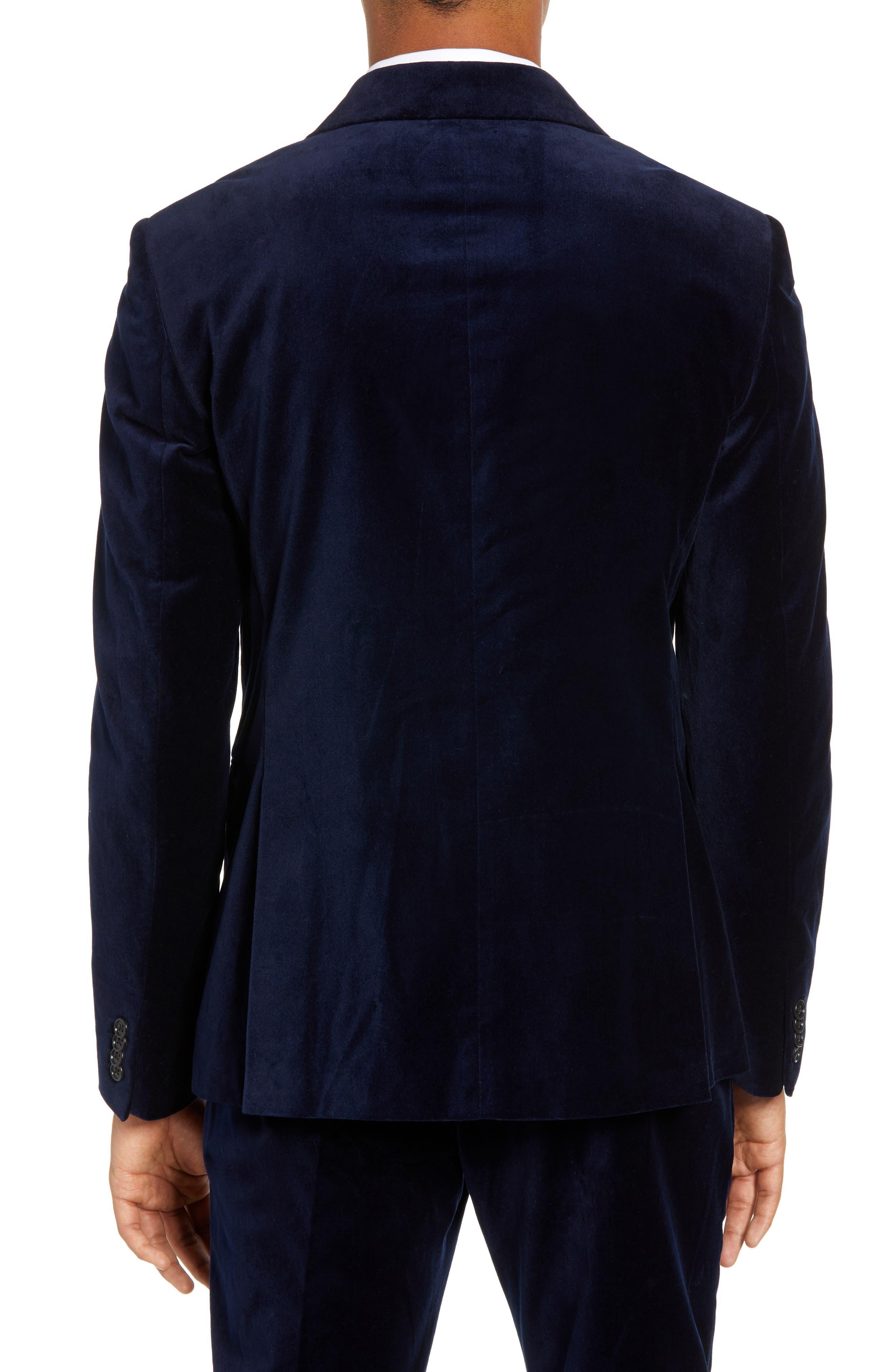 FRENCH CONNECTION,                             Regular Fit Plush Velveteen Blazer,                             Alternate thumbnail 2, color,                             BLUE BLOOD